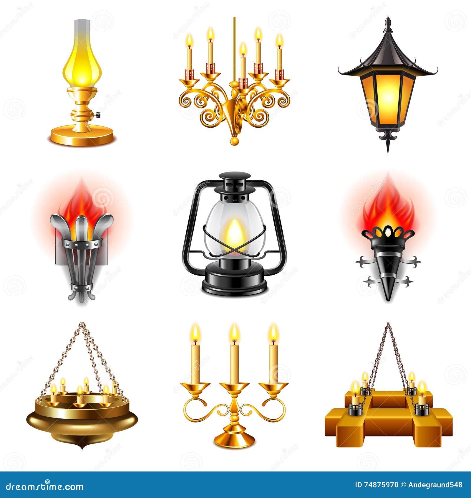 Grupo do vetor dos ícones das lâmpadas do vintage