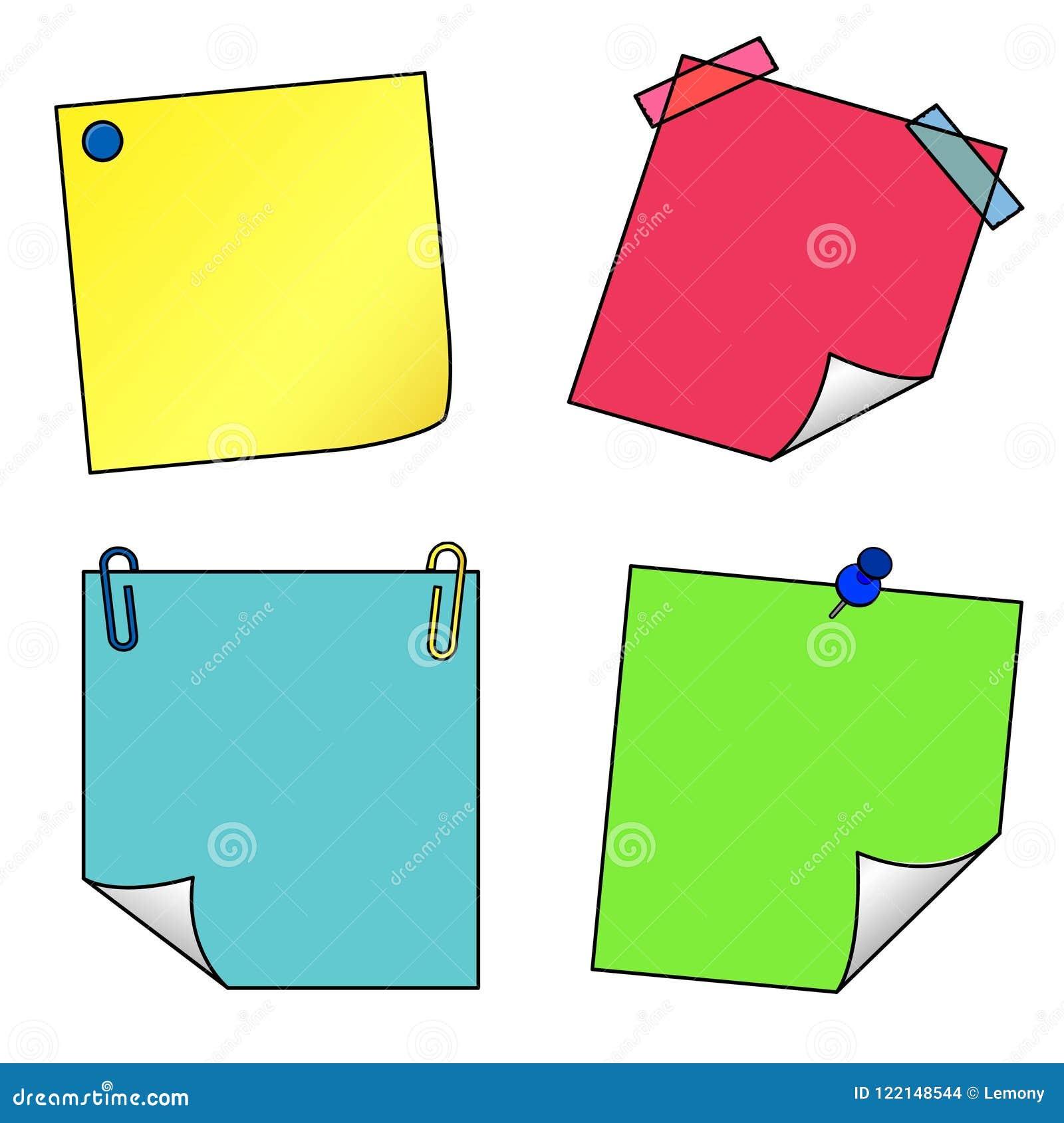 Grupo do vetor dos ícones das notas de post-it