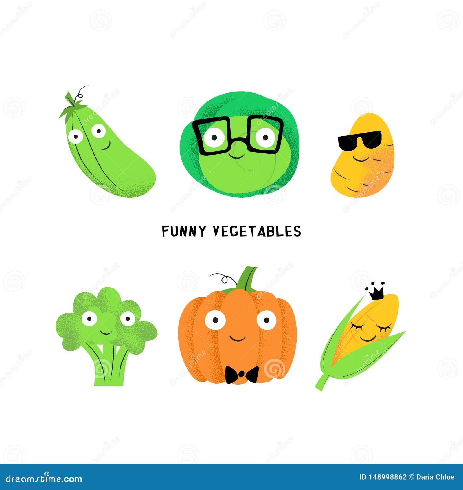 Grupo do vetor dos caráteres vegetais dos desenhos animados bonitos