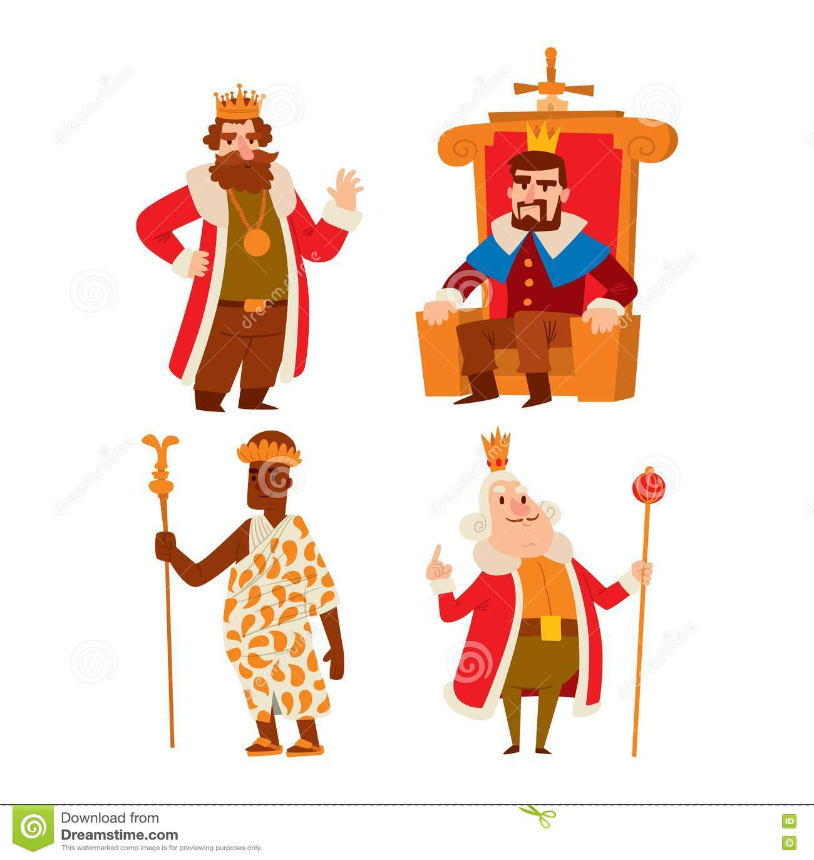 Grupo Do Vetor Dos Desenhos Animados Dos Reis Ilustracao Do Vetor