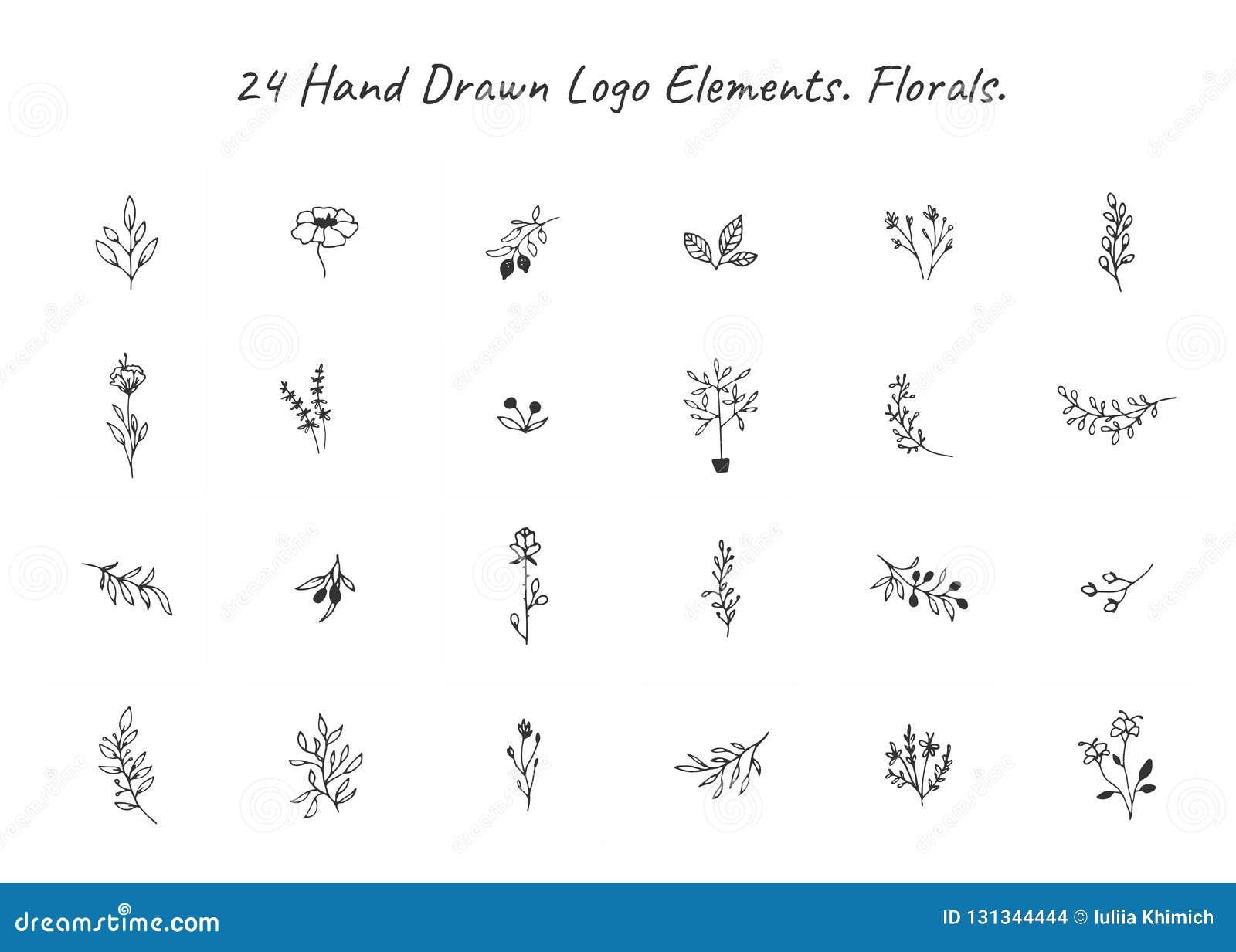 Grupo do vetor mão floral de elementos tirados no estilo elegante e mínimo