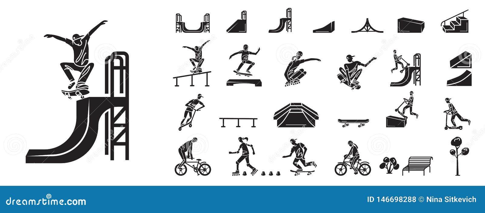 Grupo dos ícones do parque do patim, estilo simples
