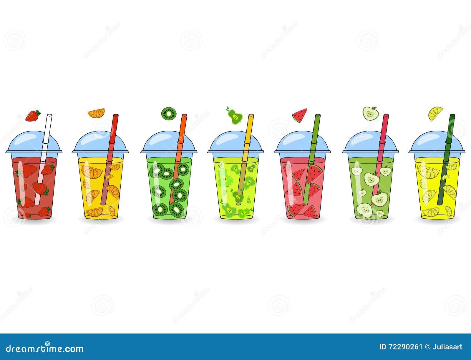 Grupo dos batidos, sucos com sabores diferentes O conceito de