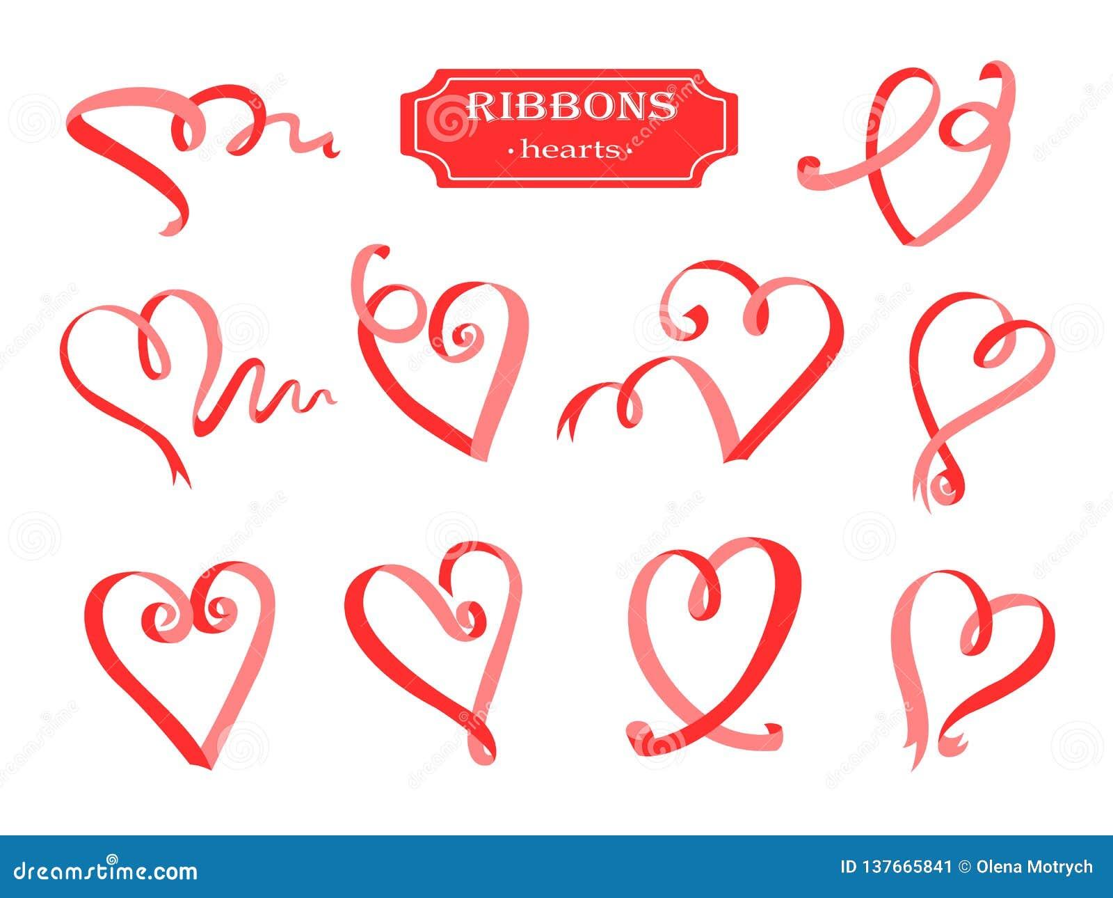 Grupo dos corações das fitas Elementos bonitos das fitas vermelhas para seu projeto