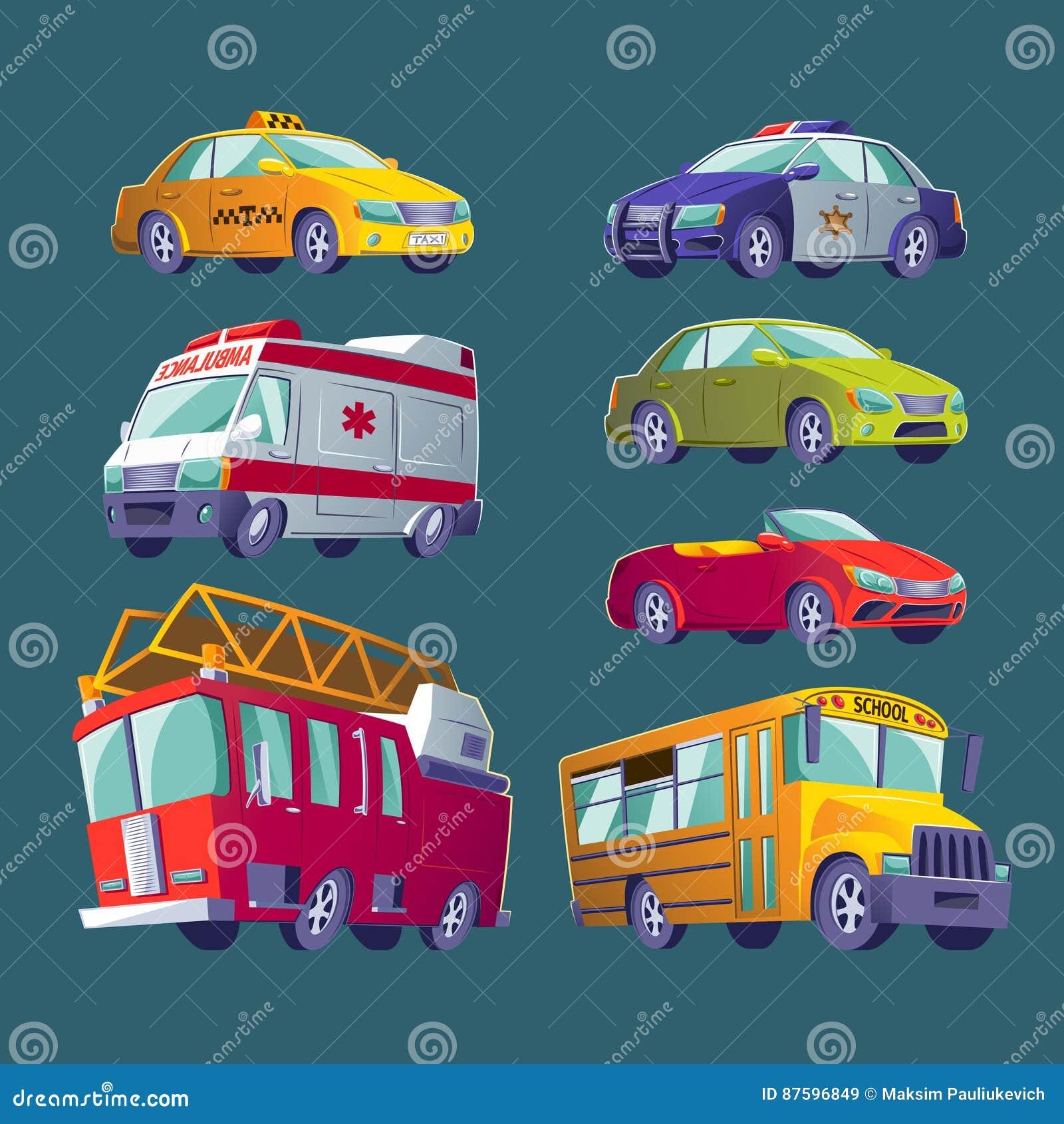Grupo dos desenhos animados de ícones do transporte urbano Carro de bombeiros, ambulância, carro de polícia, ônibus escolar, táxi