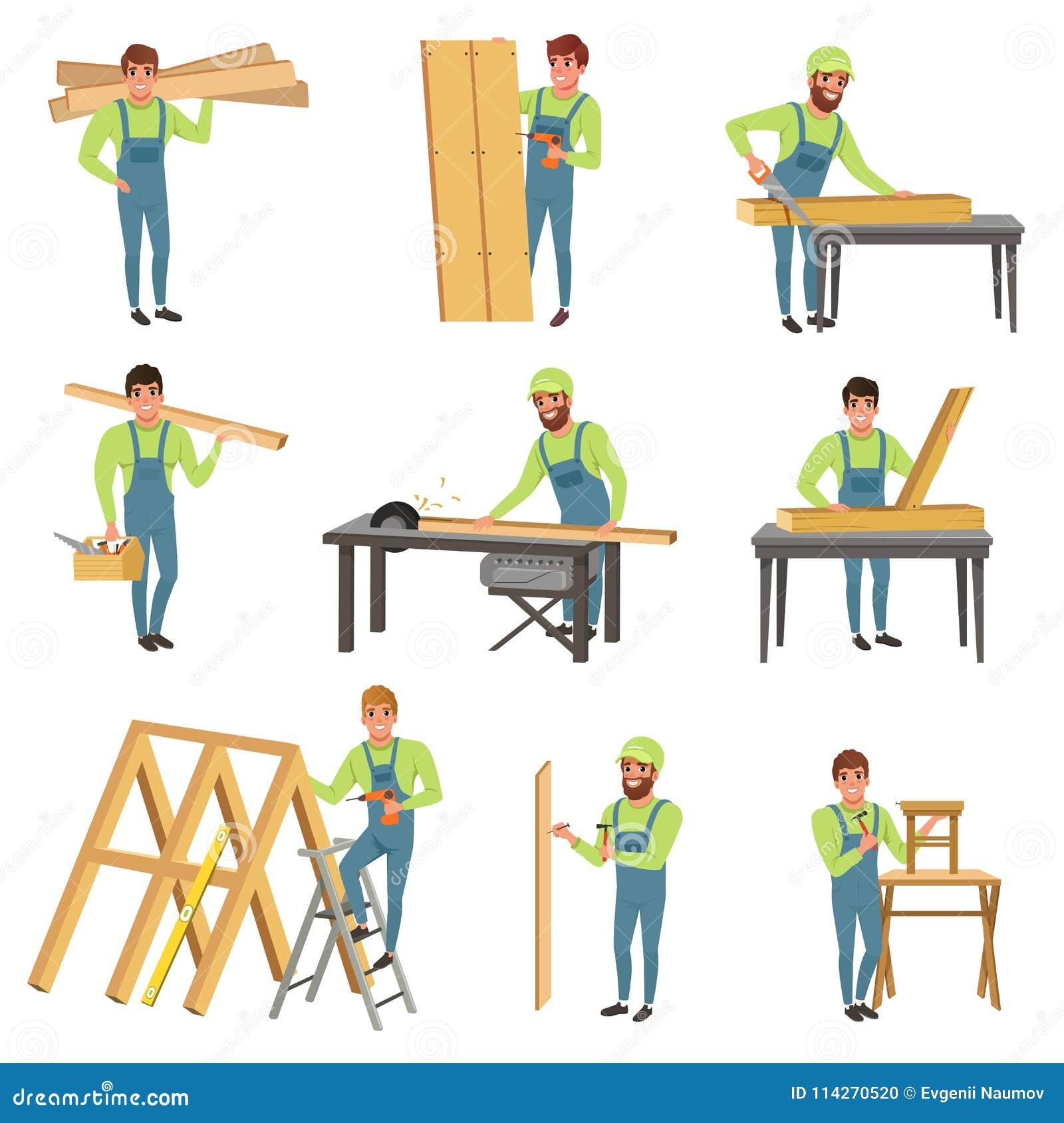 Grupo Dos Desenhos Animados De Carateres Do Carpinteiro No