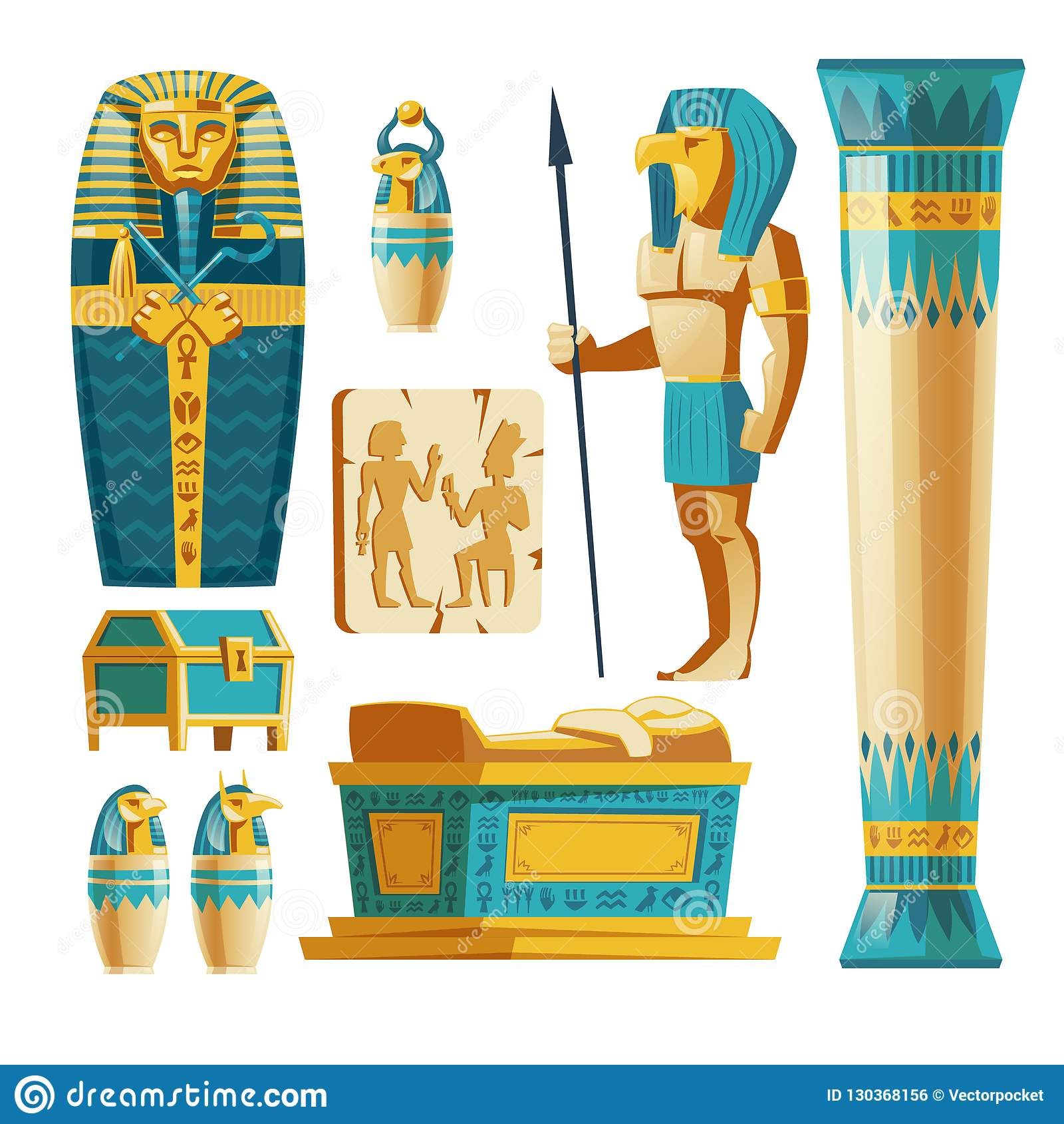 Grupo Dos Desenhos Animados Do Vetor De Objetos De Egito Antigo