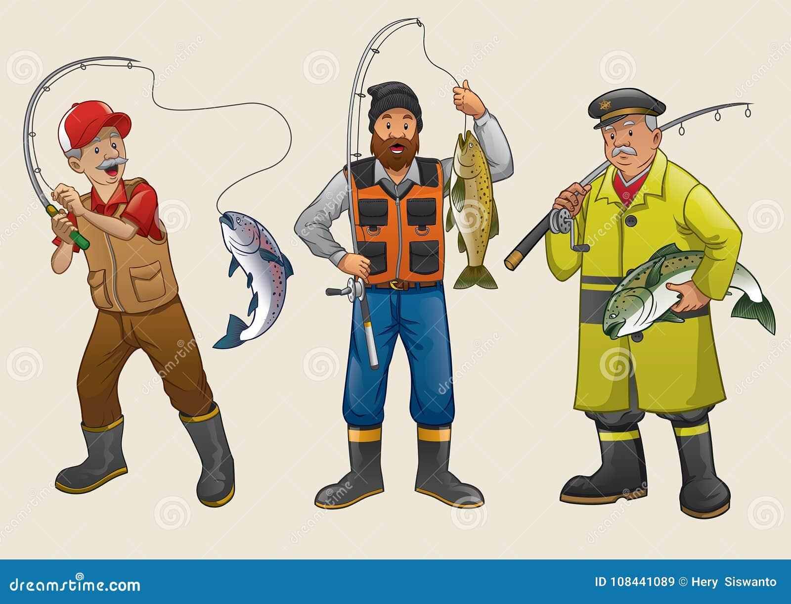 Grupo Dos Desenhos Animados Dos Povos Do Pescador Ilustracao Do