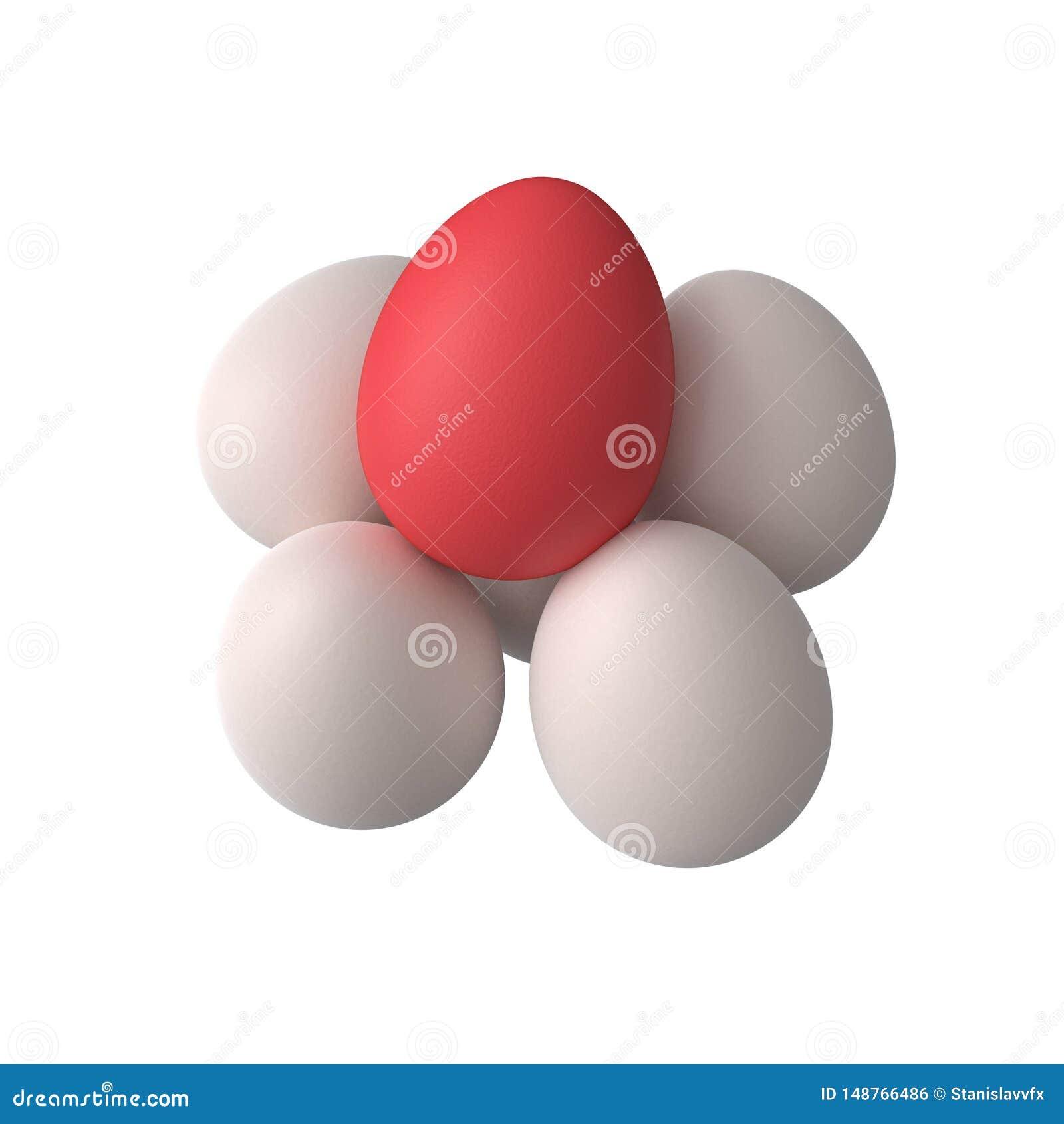 Grupo dos ovos com o um ovo vermelho
