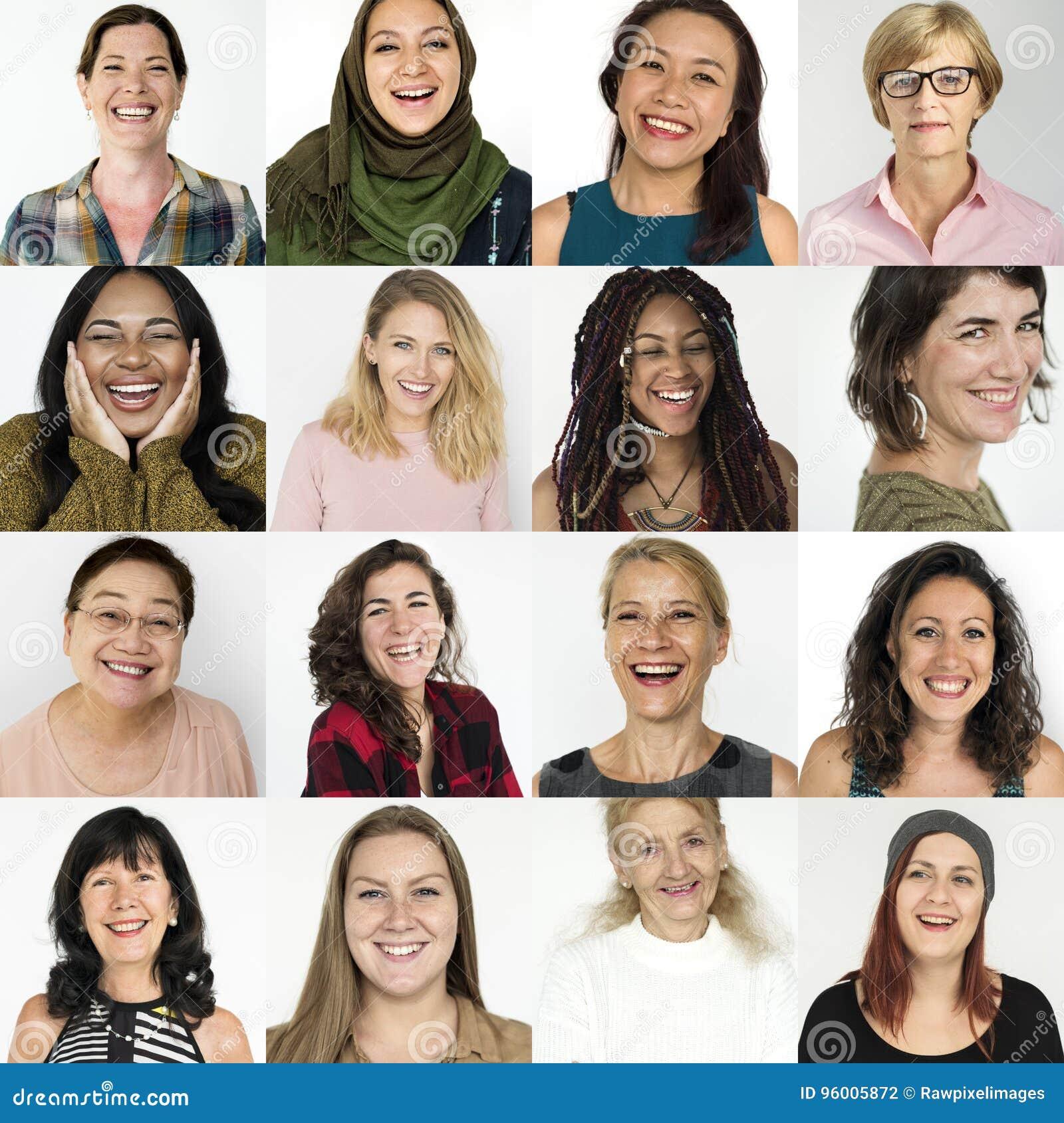 Grupo dos povos de mulheres da diversidade com expressão de sorriso Studi da cara