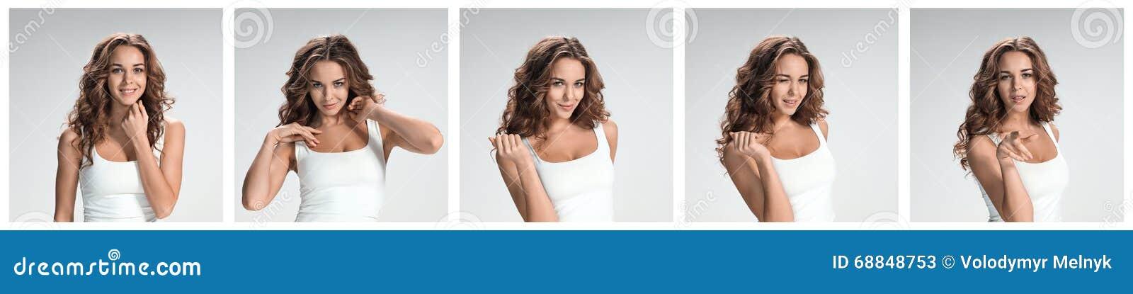 Grupo dos retratos da jovem mulher com emoções felizes diferentes
