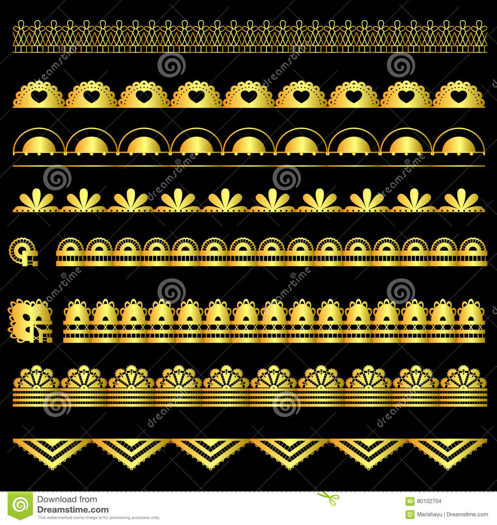 Grupo dourado de fitas do laço