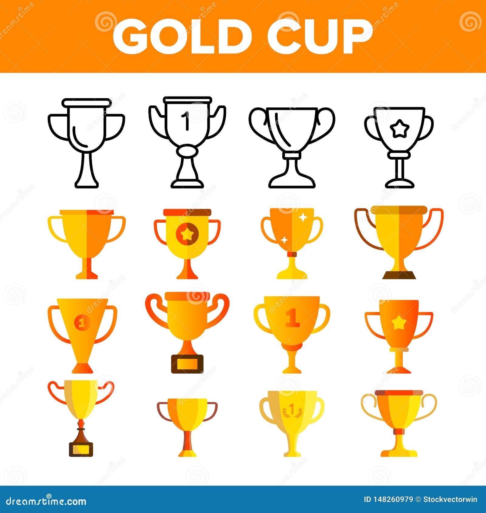 Grupo dourado dos ícones da cor do vetor do copo do troféu