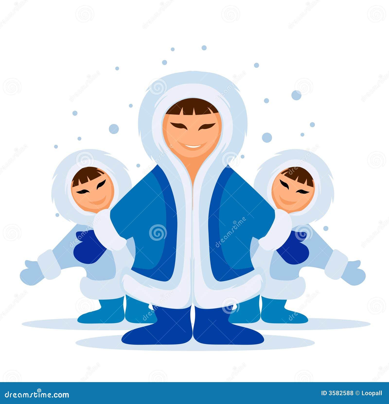 Grupo eskimo de sorriso dos povos