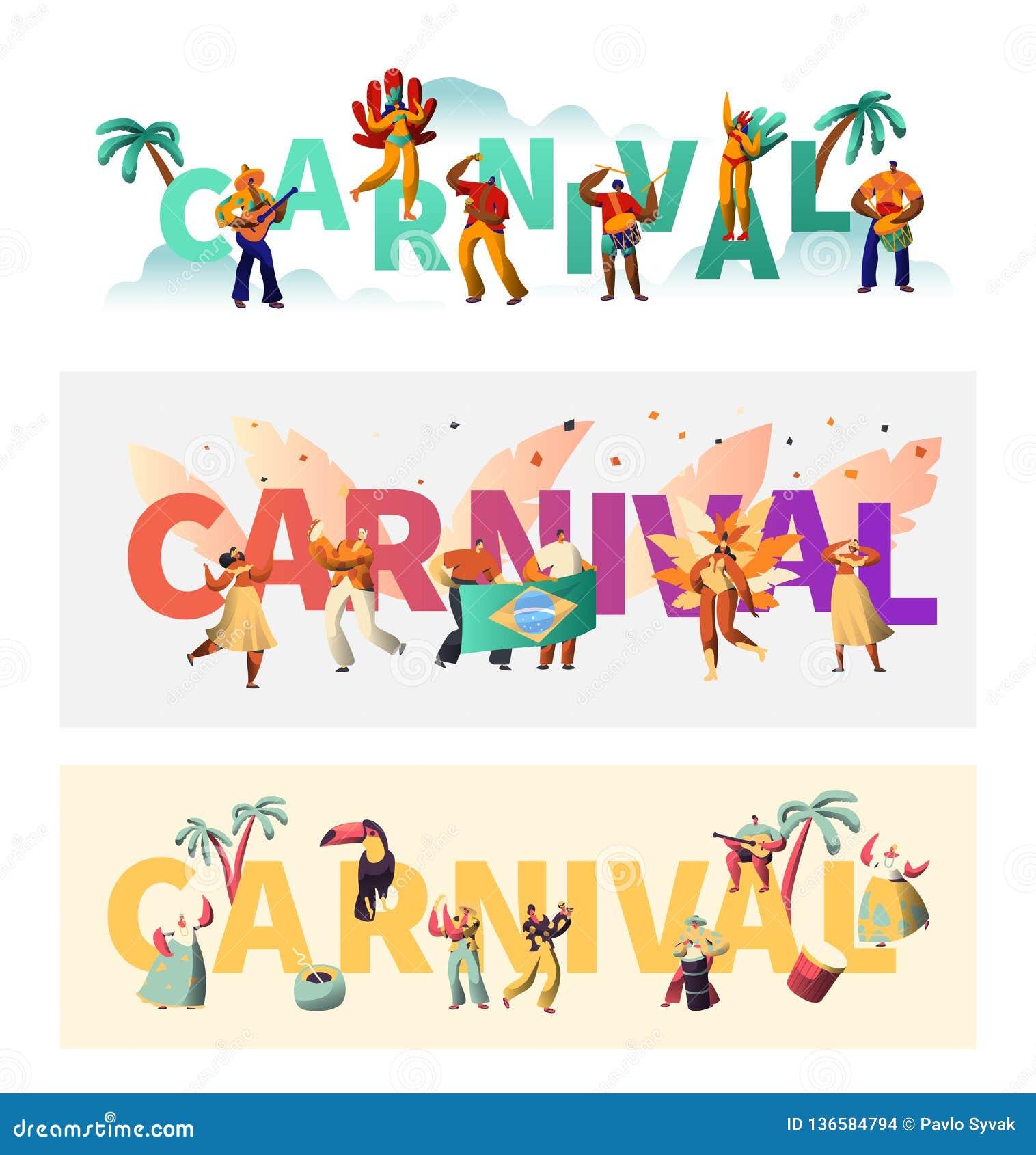 Grupo exótico do cartaz da tipografia do traje do carnaval de Brasil Parada de Wing Bikini Latino Woman Colorful O homem joga a m