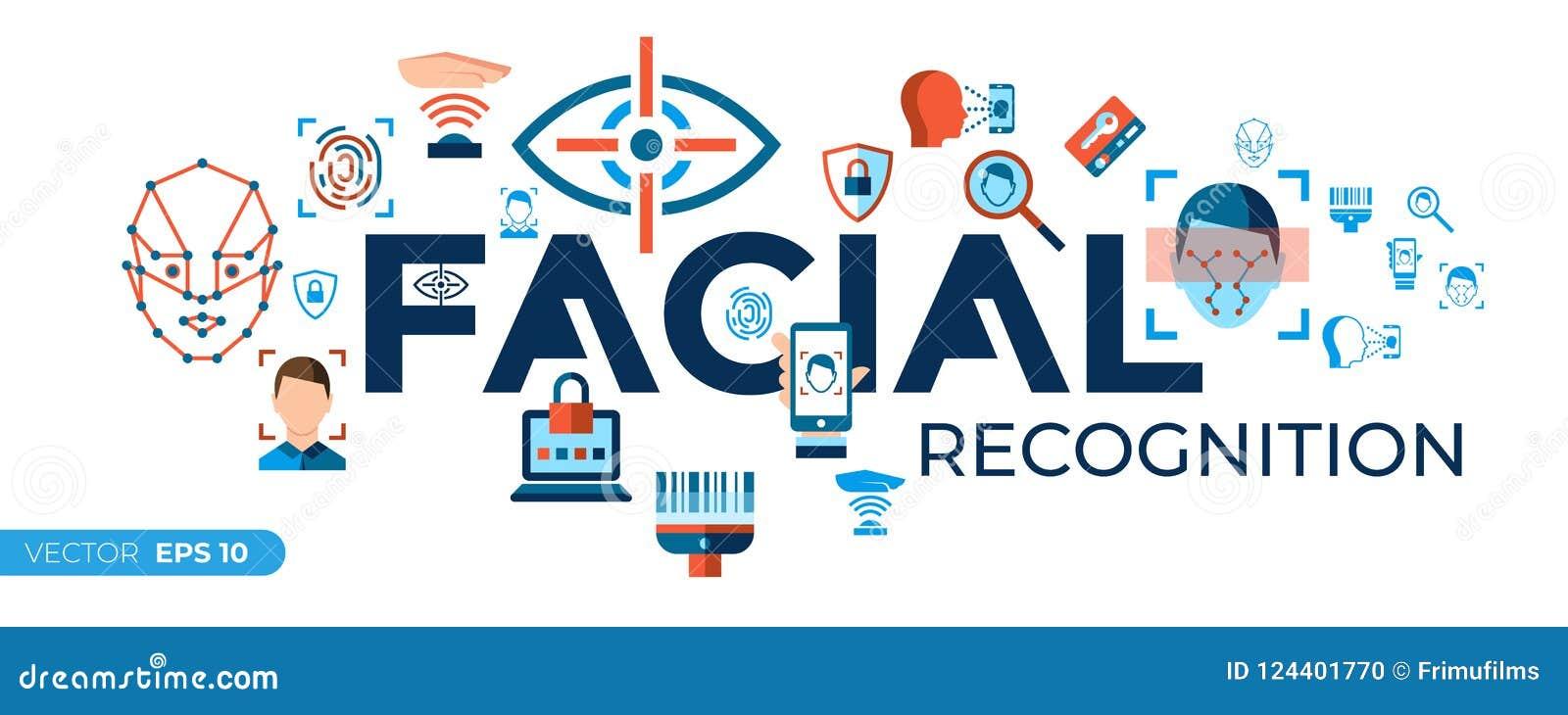 Grupo facial dos ícones do reconhecimento do vetor de Digitas
