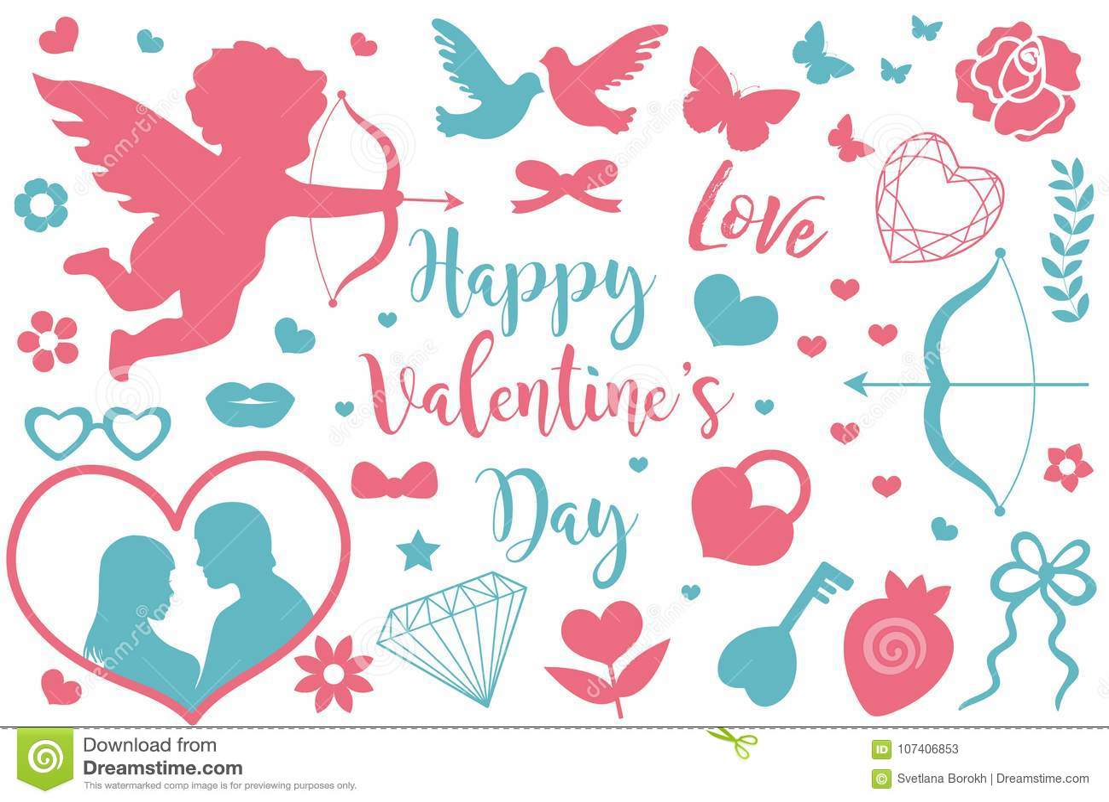 Grupo feliz do ícone do dia do ` s do Valentim de silhuetas do estêncil Coleção romance bonito do amor de elementos do projeto co