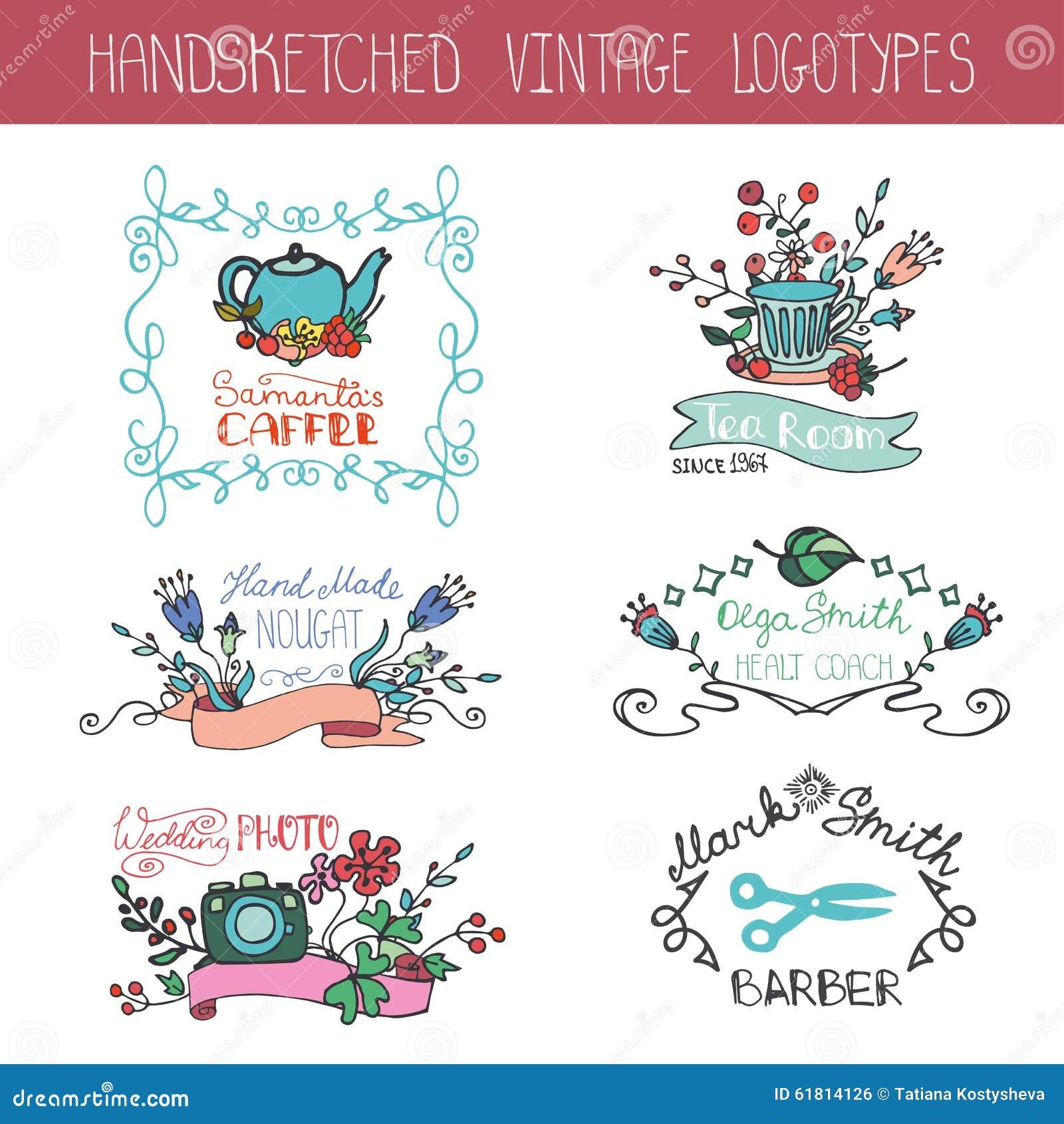 Grupo floral do logotype do vintage Desenho da mão da garatuja