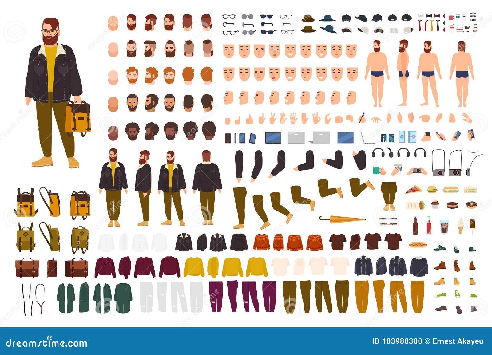 Grupo gordo da criação do homem ou jogo de DIY Coleção de partes do corpo lisas do personagem de banda desenhada, expressões da c