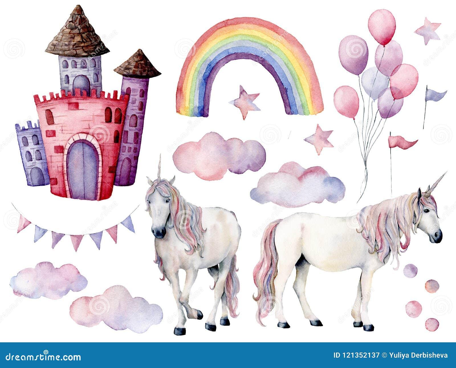 Grupo grande da aquarela com unicórnios e decoração do conto de fadas Cavalos mágicos pintados à mão, castelo, arco-íris, nuvens,