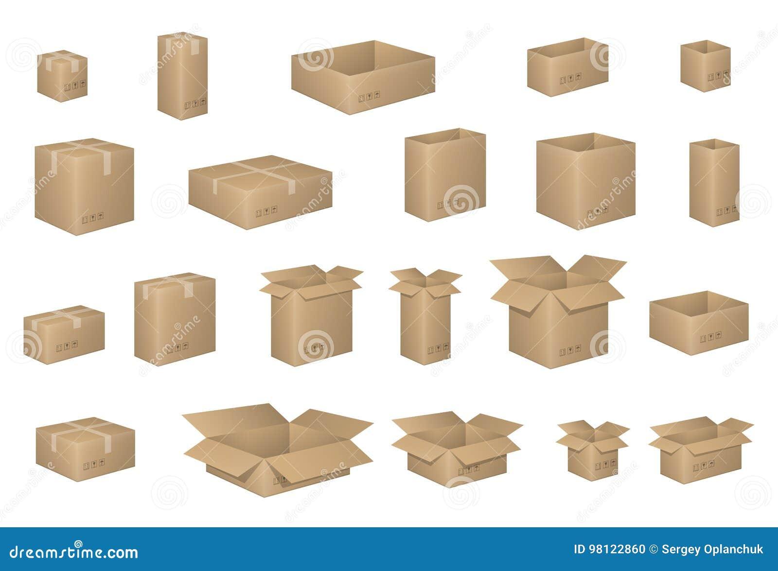 Grupo grande de caixas de cartão isométricas no branco Caixa da caixa organizada por camadas Ilustração do vetor do empacotamento