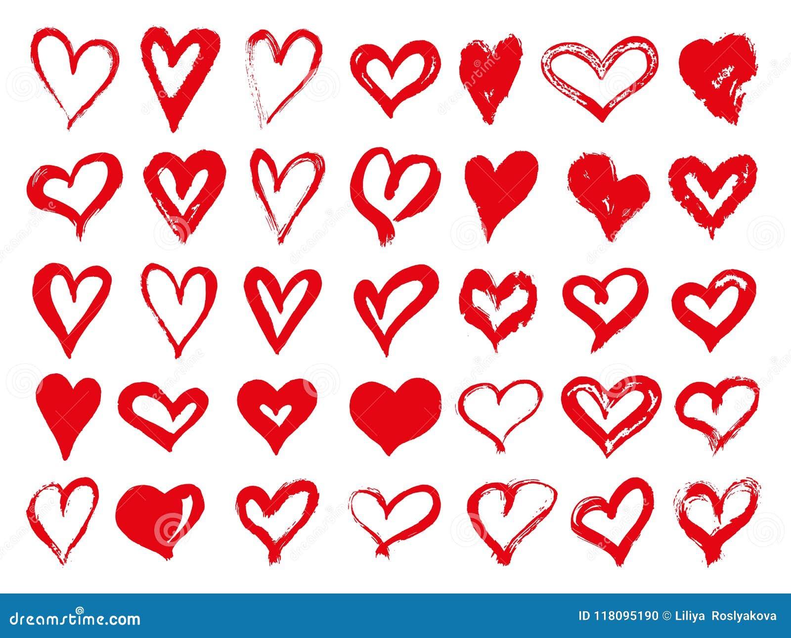 Grupo grande de corações vermelhos do grunge Elementos do projeto para o dia de Valentim Formas do coração da ilustração do vetor