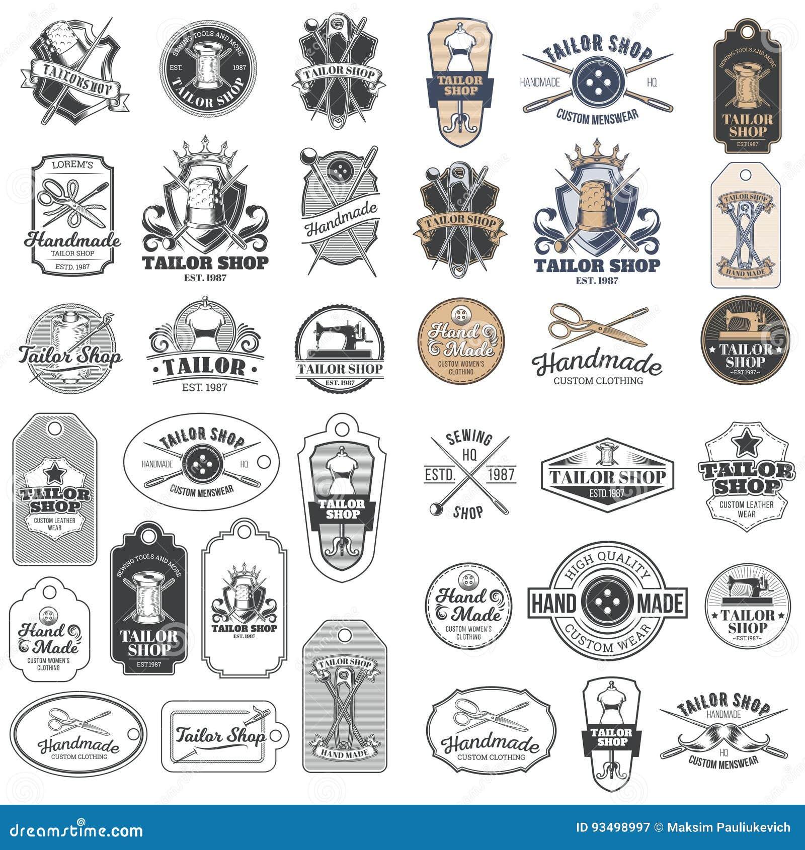 Grupo grande de crachás do alfaiate do vintage do vetor, etiquetas, emblemas, signage