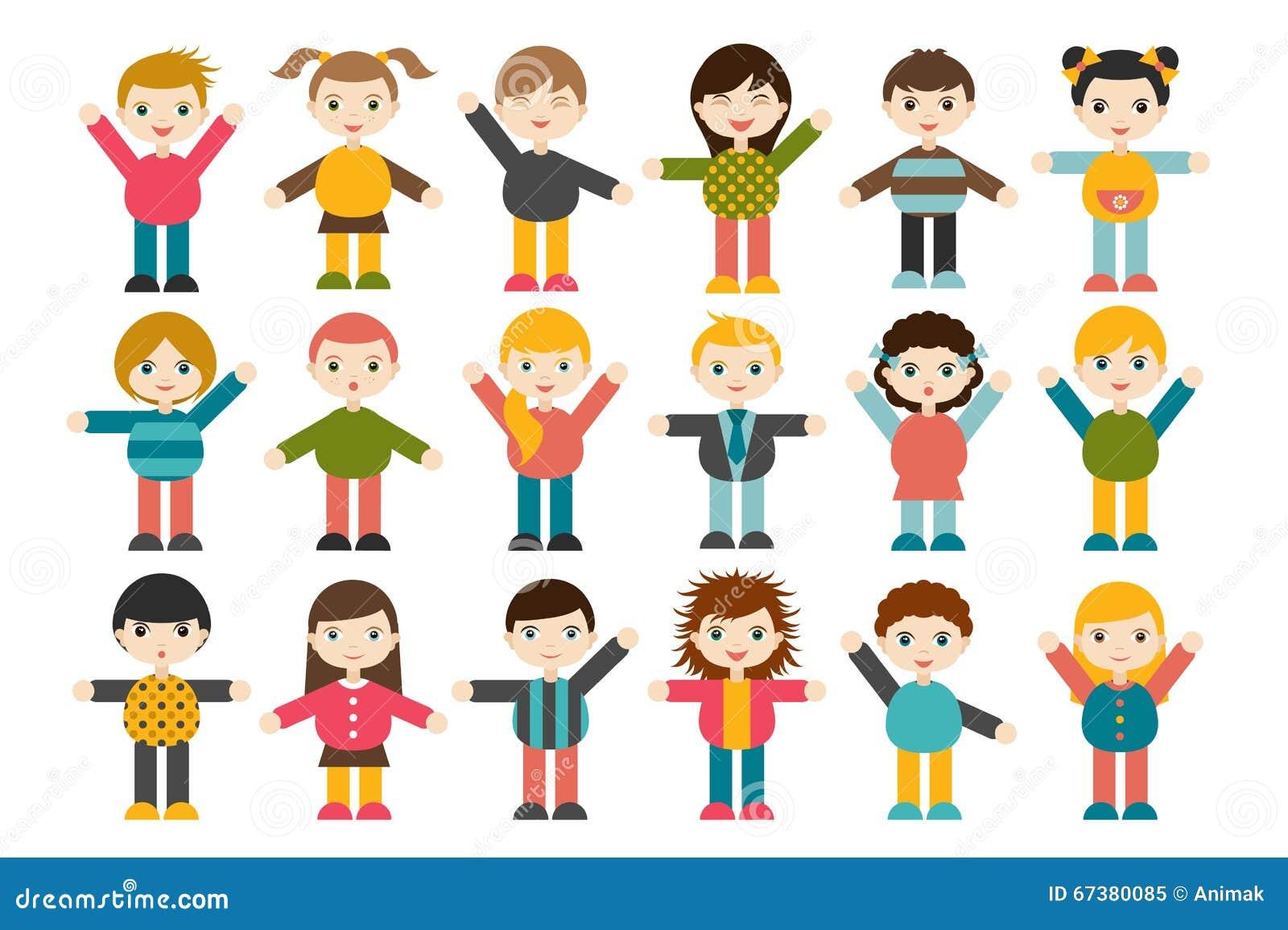 Crianças Que Jogam O Futebol Nos Desenhos Animados Do: Grupo Grande De Figuras Diferentes Das Crianças Dos