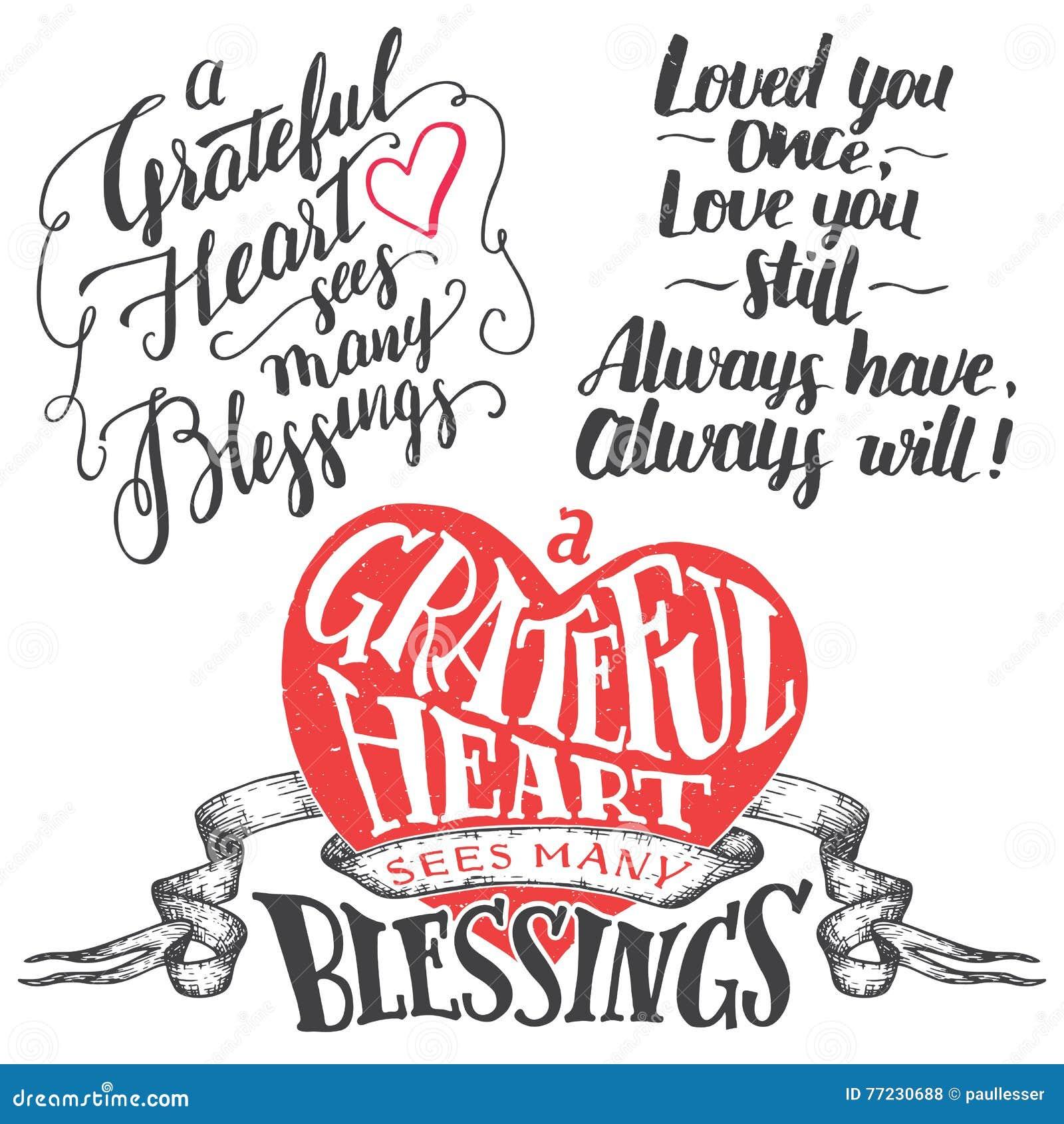 Grupo grato da rotulação da mão do coração