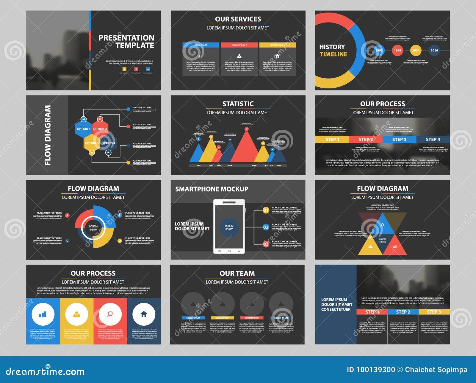 Grupo infographic do molde dos elementos da apresentação do negócio, projeto horizontal incorporado do folheto do informe anual