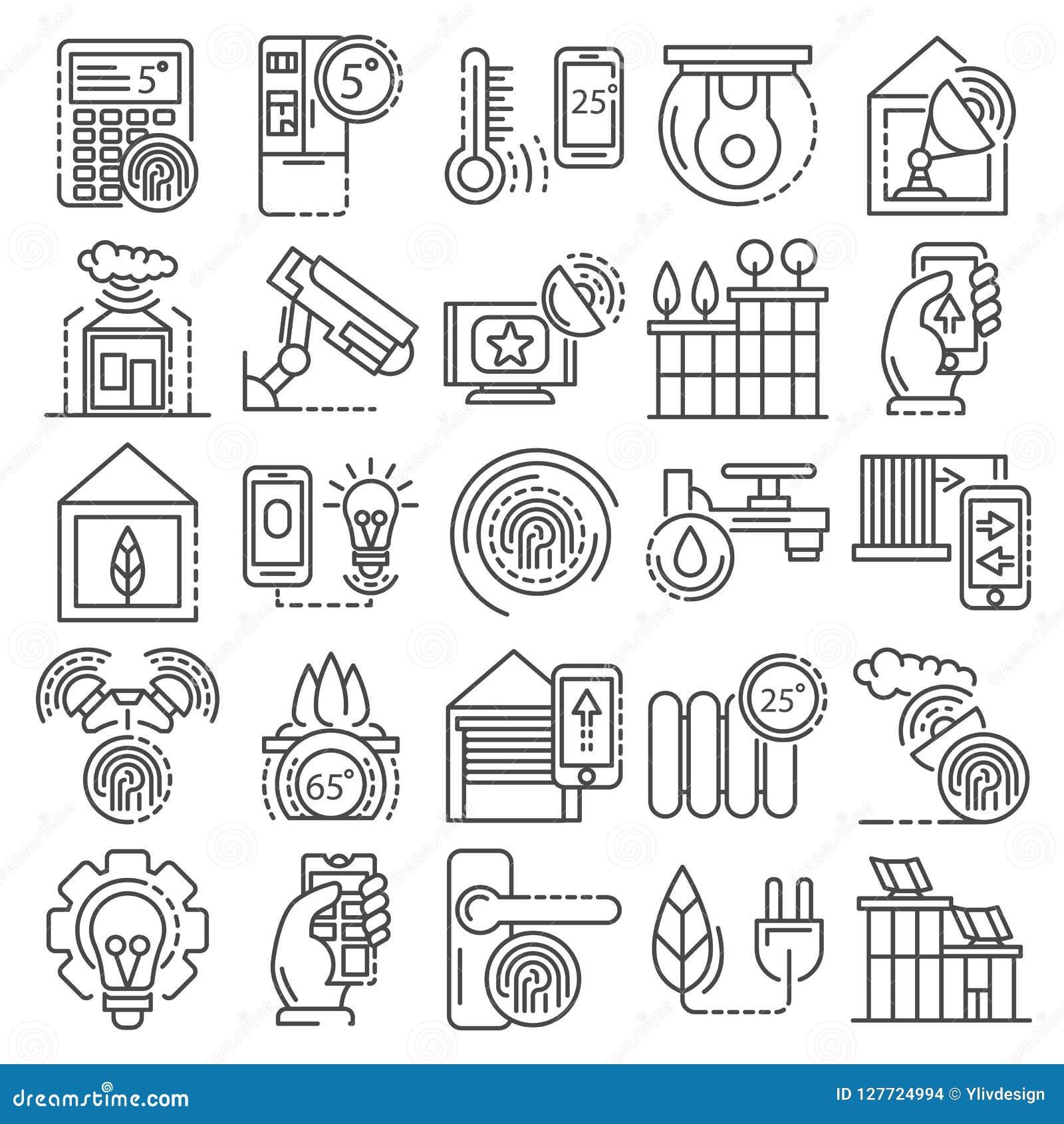 Grupo inteligente do ícone do sistema da construção, estilo do esboço