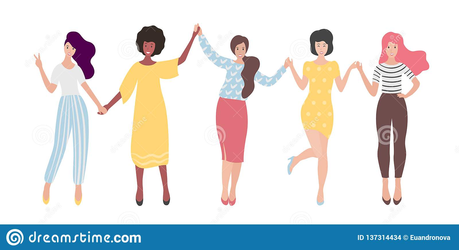 Grupo internacional diverso de mulheres ou de menina estando que guardam as mãos Irmandade, amigos, união das feministas