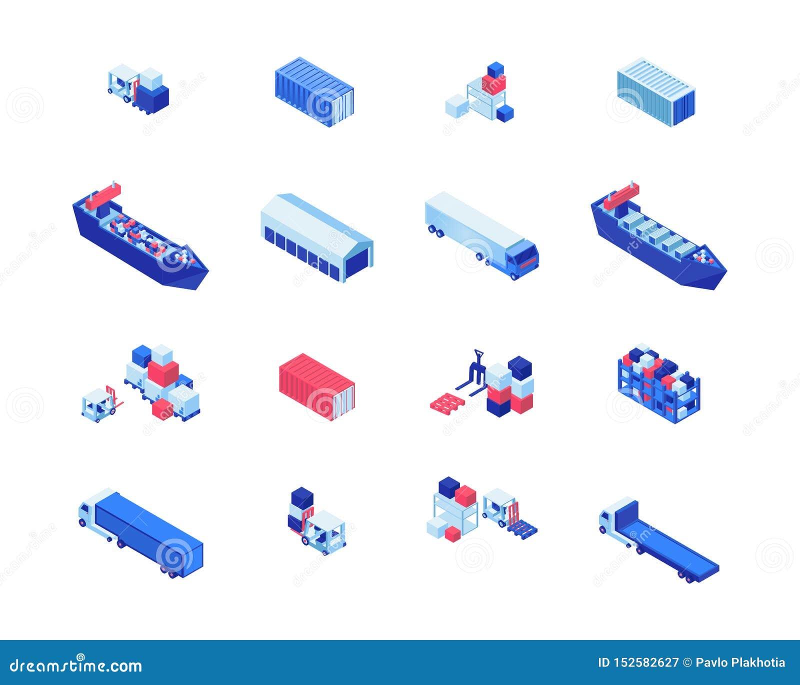 Grupo isométrico das ilustrações do vetor do negócio de transporte Transporte navios, armazenamento do armazém, empilhadeiras que