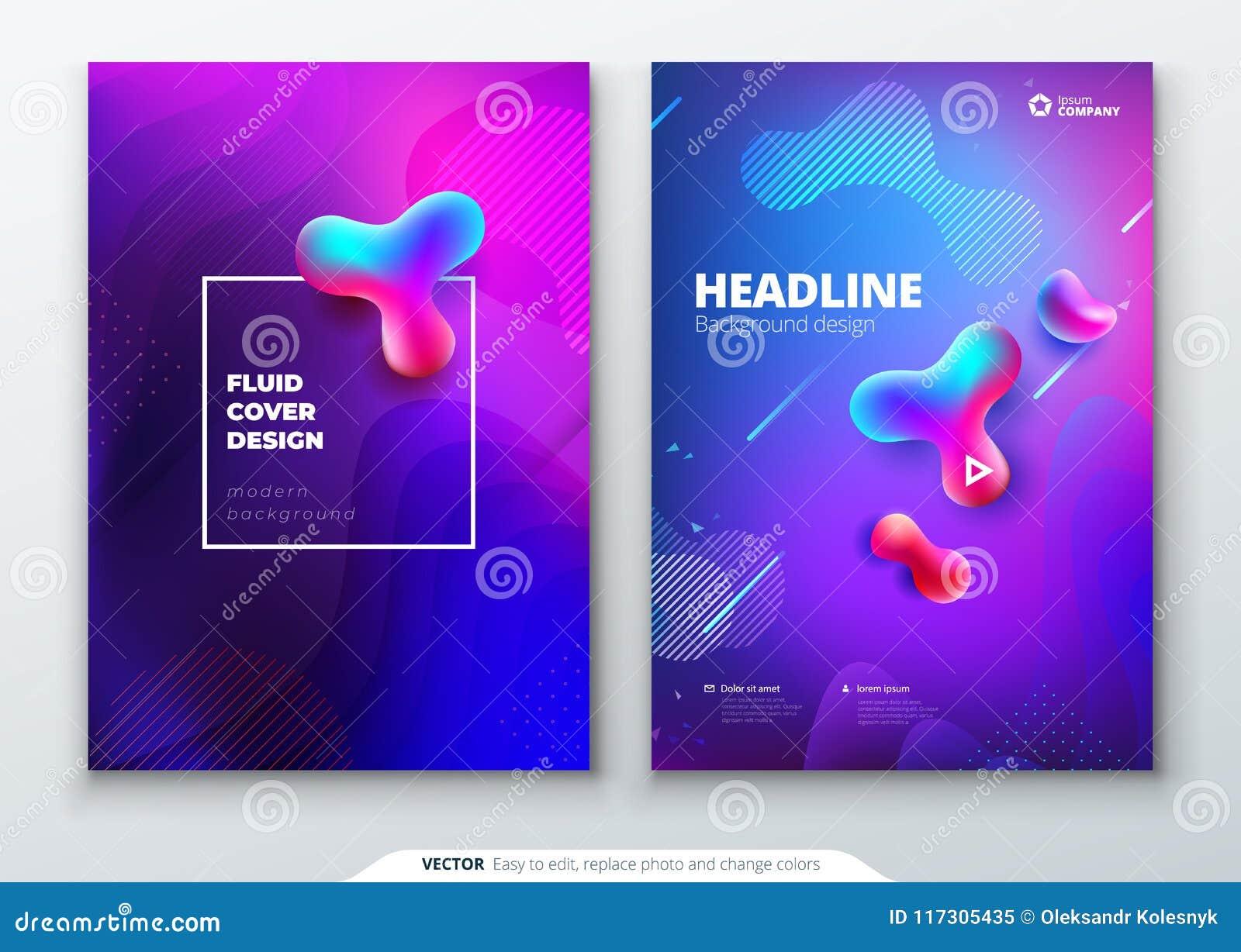 Grupo líquido da tampa da cor O líquido dá forma à composição Projeto do folheto Molde para o folheto, relatório da empresa