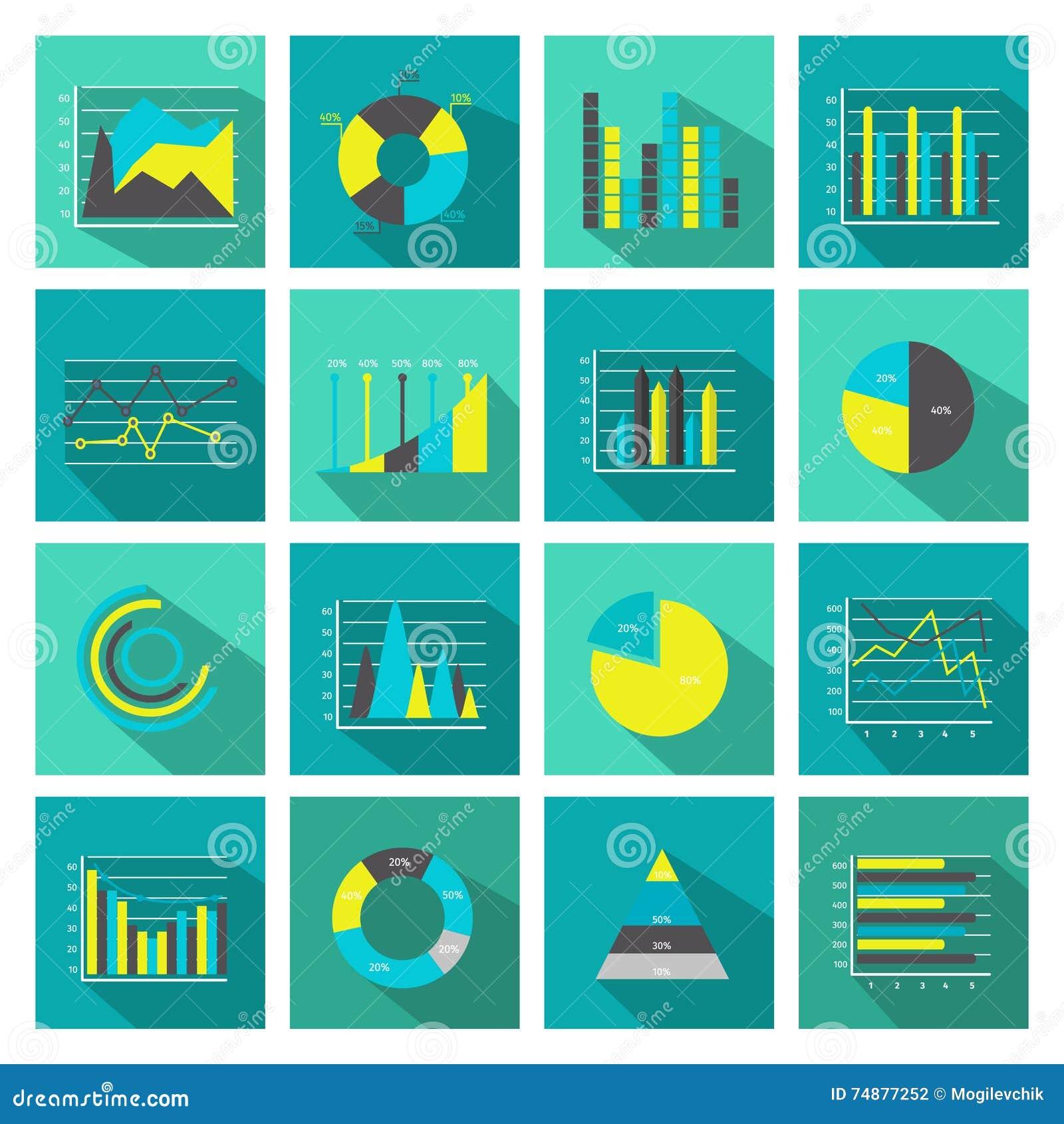 Grupo liso colorido do ícone dos gráficos