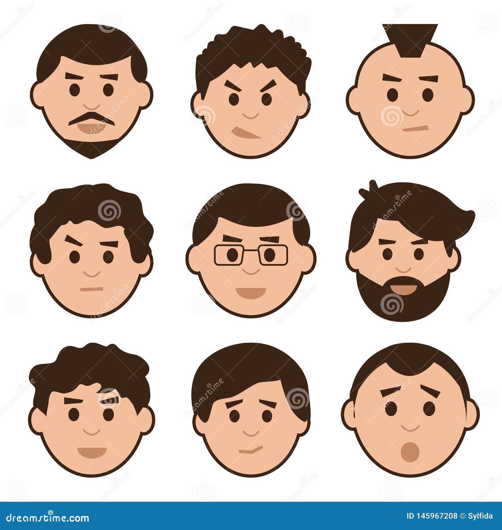 Grupo liso de homens, avatar com emoções diferentes, vetor