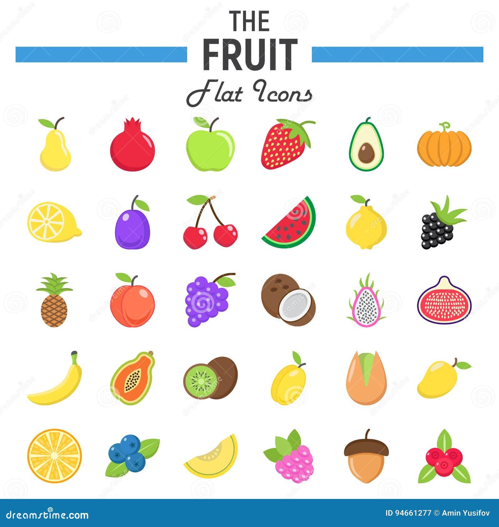 Grupo liso do ícone do fruto, coleção dos símbolos do alimento