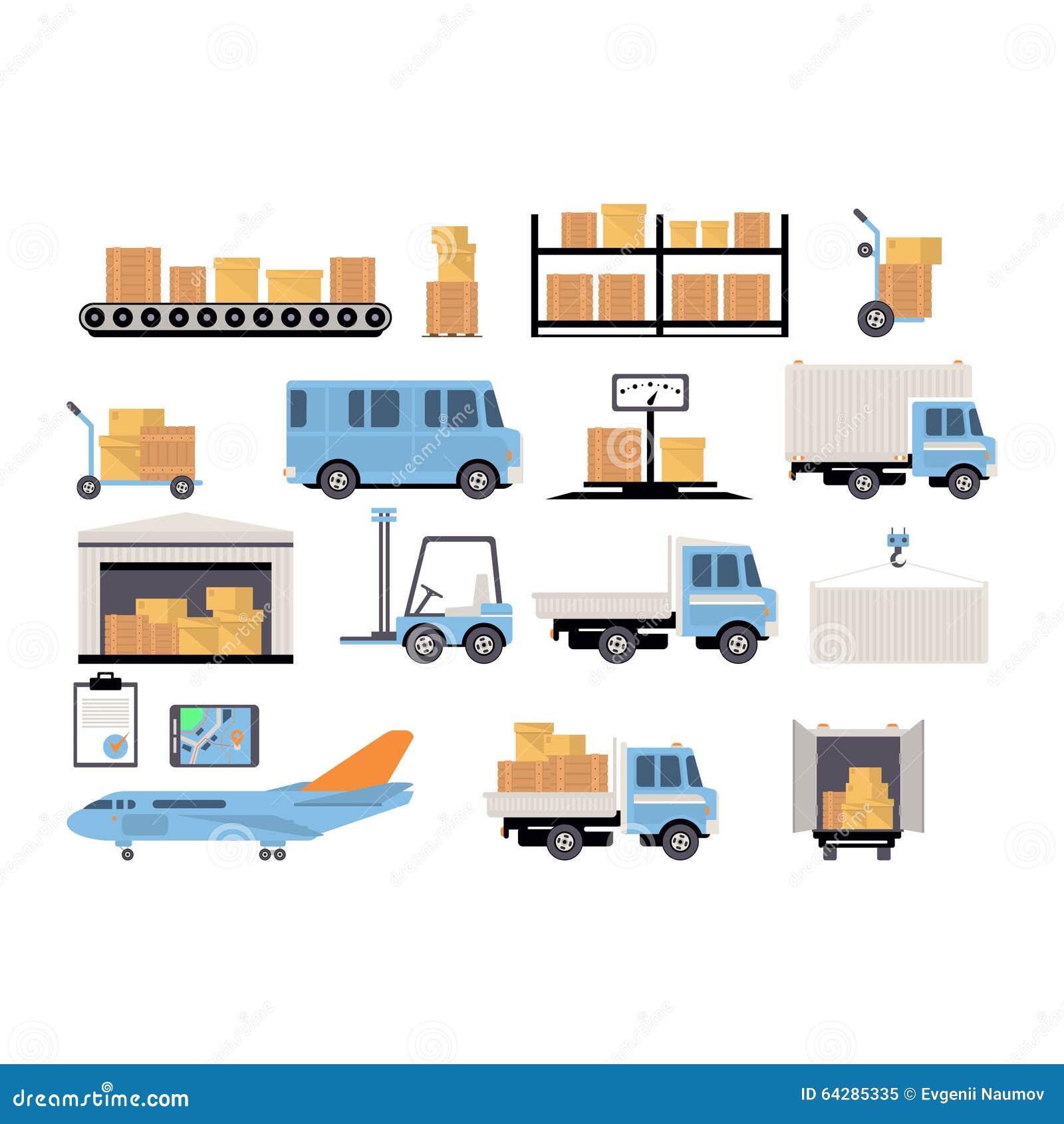 Grupo Liso Do Armaz M De Processo Da Embalagem Da Log Stica Ilustra O Do Vetor Imagem 64285335