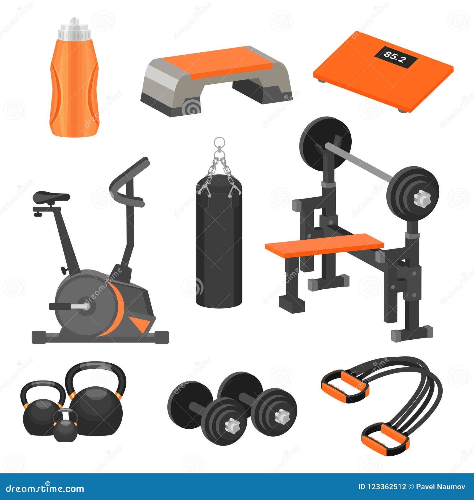 Grupo liso do vetor de artigos do esporte e de equipamento diferentes do exercício Tema saudável do estilo de vida Elementos para