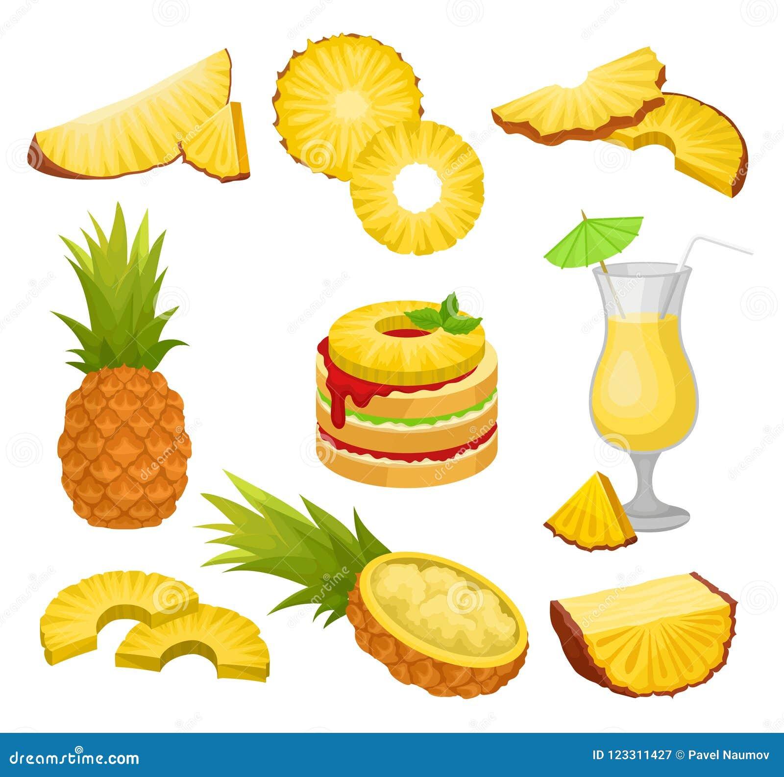 Grupo liso do vetor de corte e abacaxis, bebida do álcool e sobremesa inteiros Fruto tropical suculento Alimento natural e saudáv