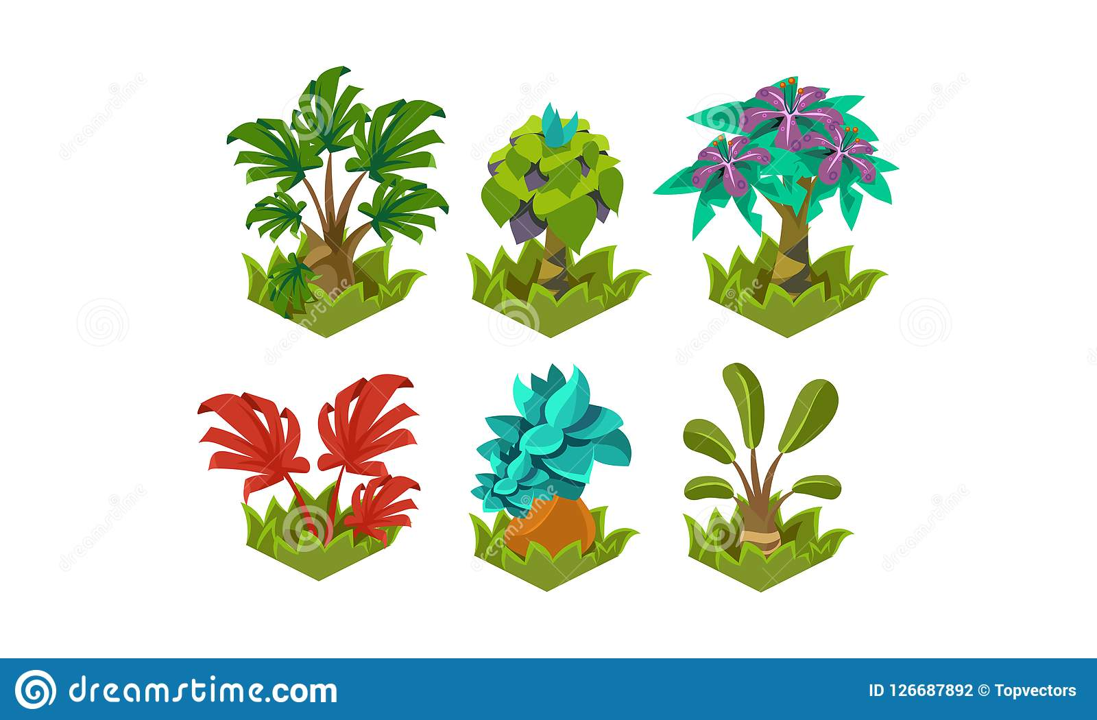 Grupo liso do vetor de plantas fabulosas dos desenhos animados Elementos da paisagem da natureza Árvores tropicais Projeto para a