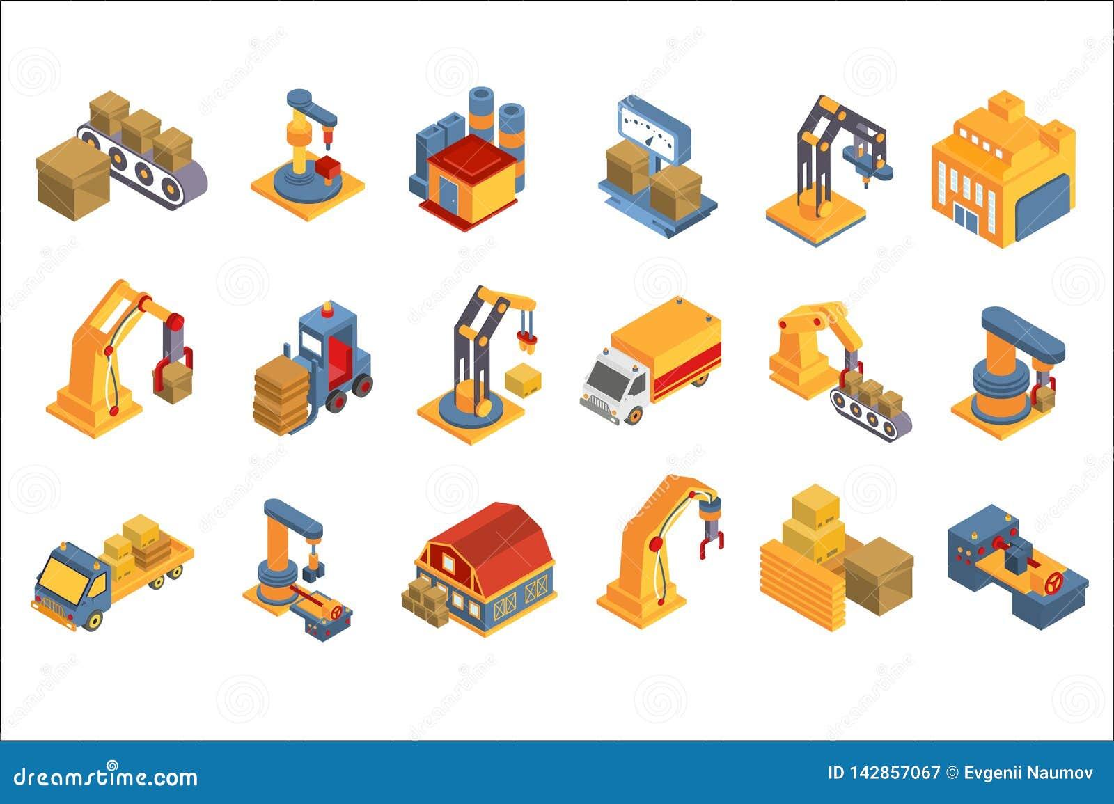 Grupo logístico, do armazém, serviço de transporte, entrega e transporte da carga, ilustrações do vetor do frete da indústr