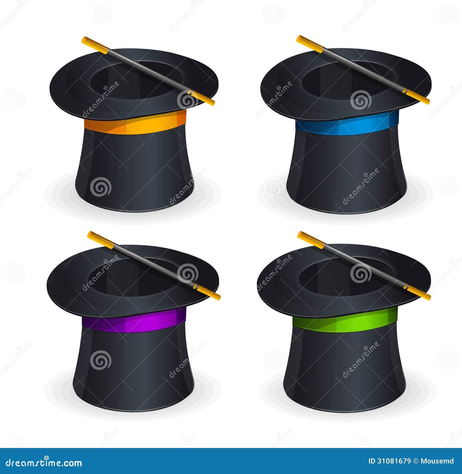 Grupo mágico do vetor dos chapéus