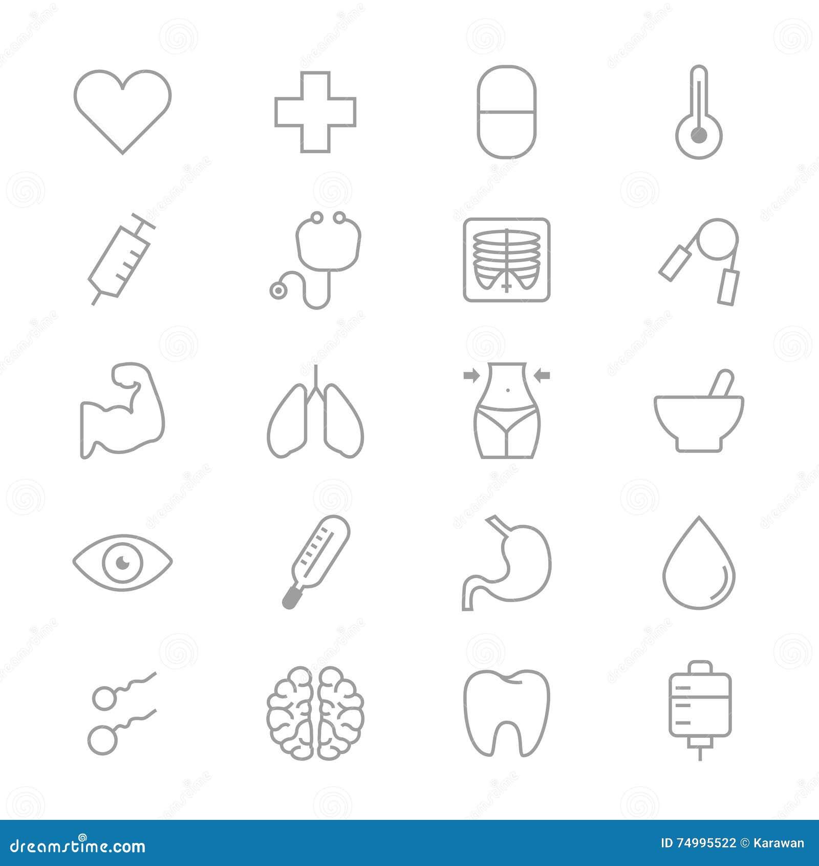 Grupo médico e dos cuidados médicos da aptidão de linha saudável dos ícones