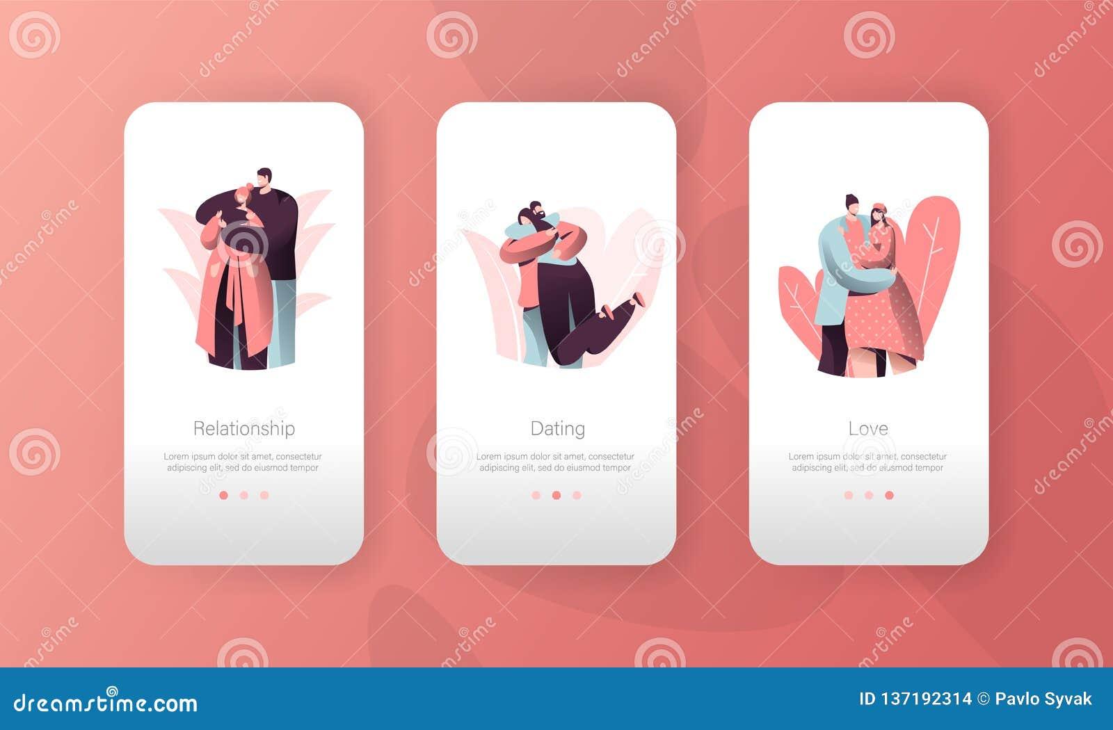 Grupo móvel da relação do App do relacionamento dos povos dos pares do amor Homem que abraça a mulher em Valentine Date Caráter r