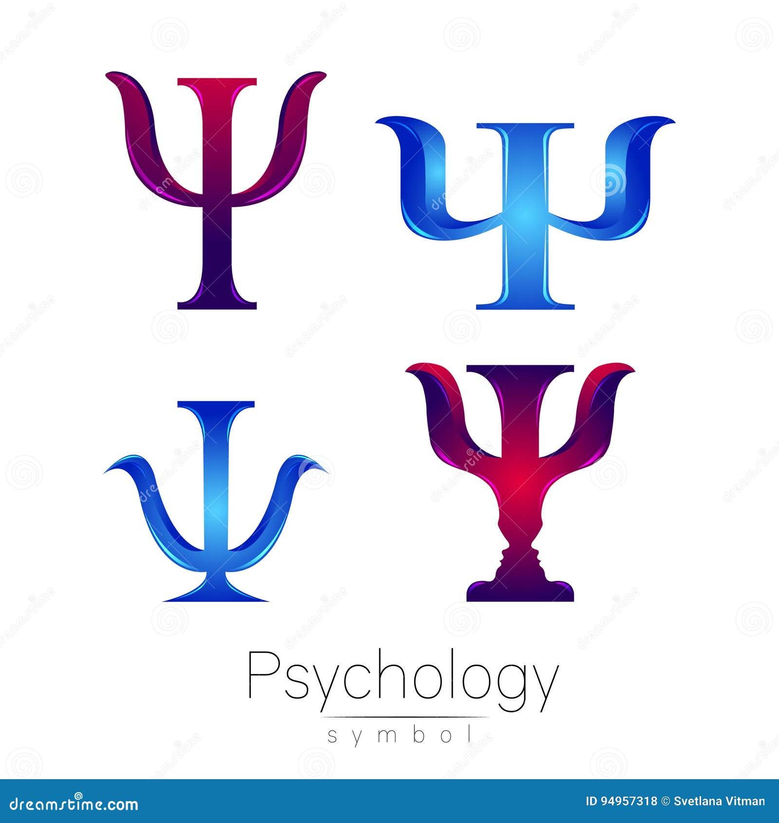Grupo moderno do sinal do logotype de psicologia psi Estilo creativo Ícone no vetor Conceito de projeto Empresa do tipo Azul do l