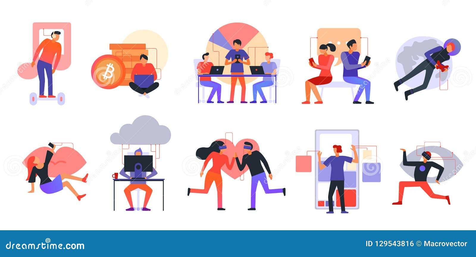Grupo moderno dos ícones das tecnologias