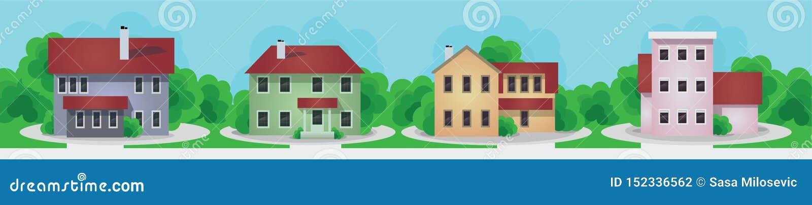 Grupo moderno e velho das casas da casa de campo