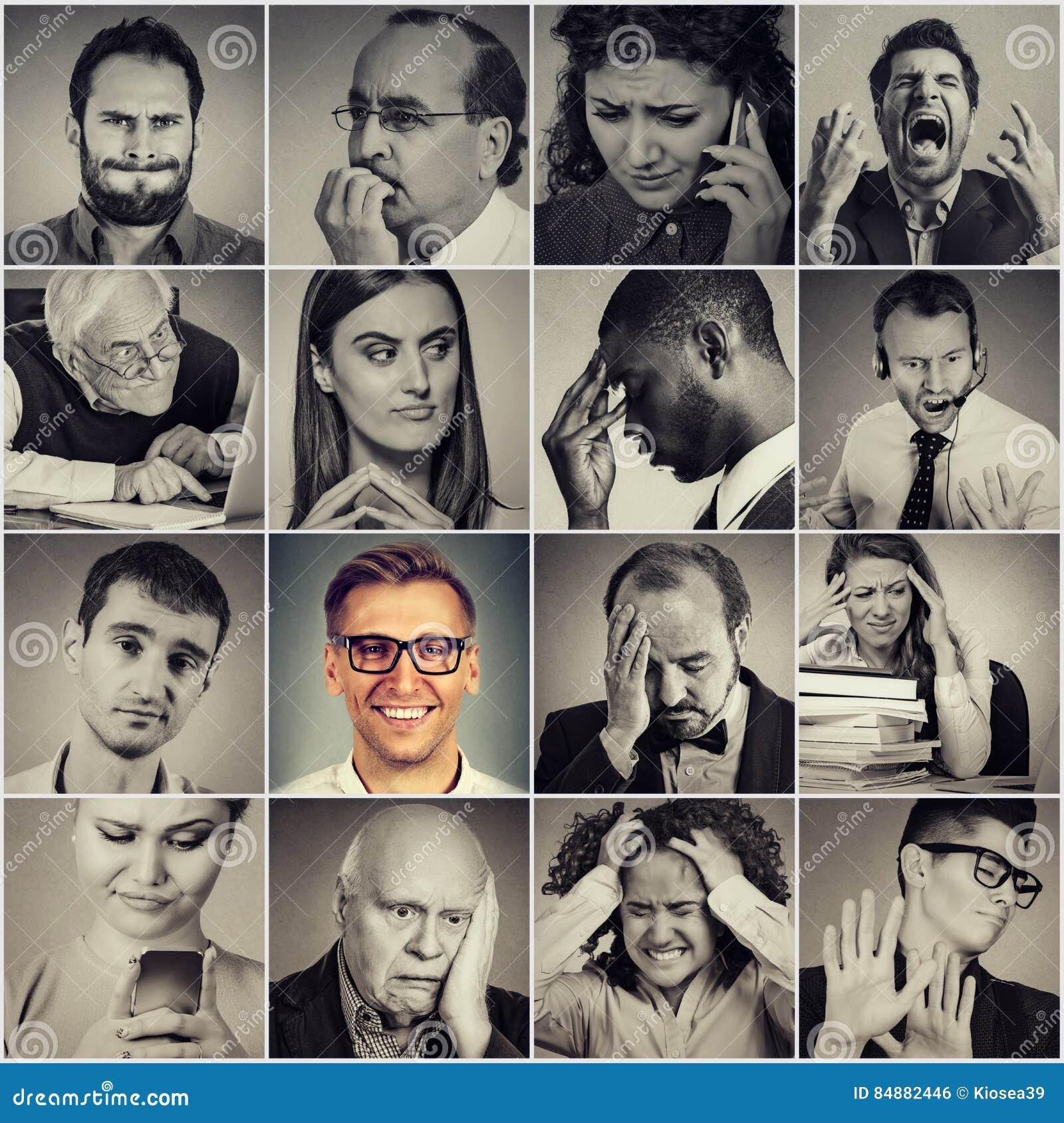 Grupo multiétnico de gente frustrada, triste, subrayada y de hombre feliz