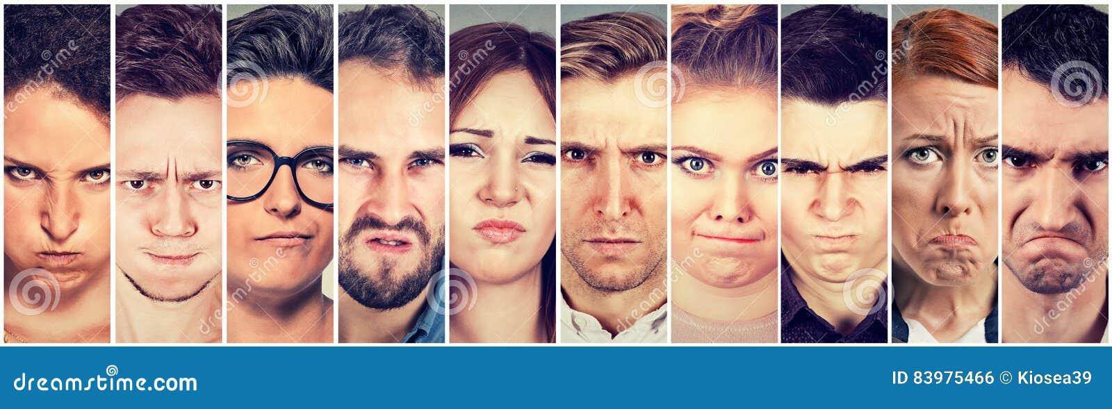 Grupo multiétnico de hombres y de mujeres cabreados enojados de la gente